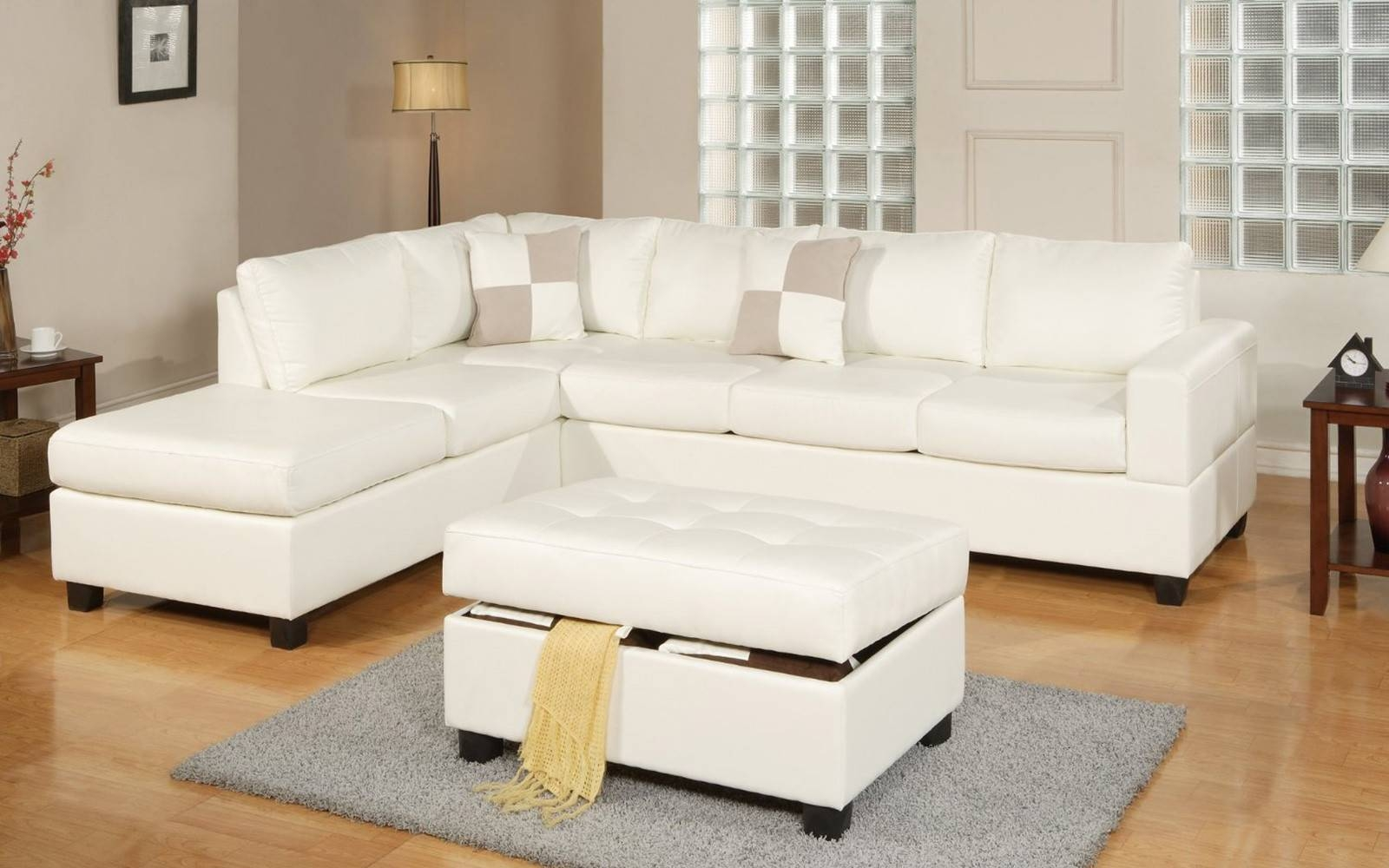 3 Piece Modern Reversible Tufted Bonded Leather Sectional Sofa regarding Sofa With Chaise and Ottoman (Image 2 of 30)