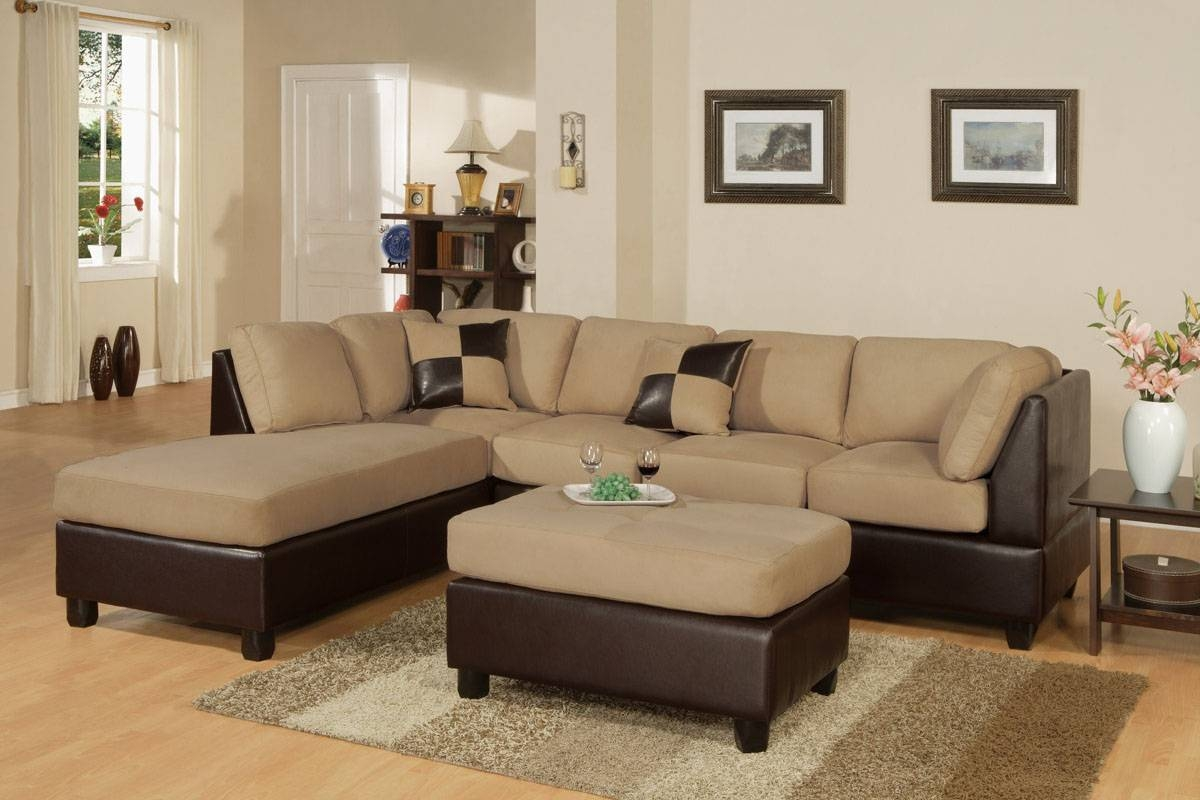 3-Piece Sectional Sofa And Ottoman - Two Tone Microfiber, Hazelnut within Two Tone Sofas (Image 2 of 30)