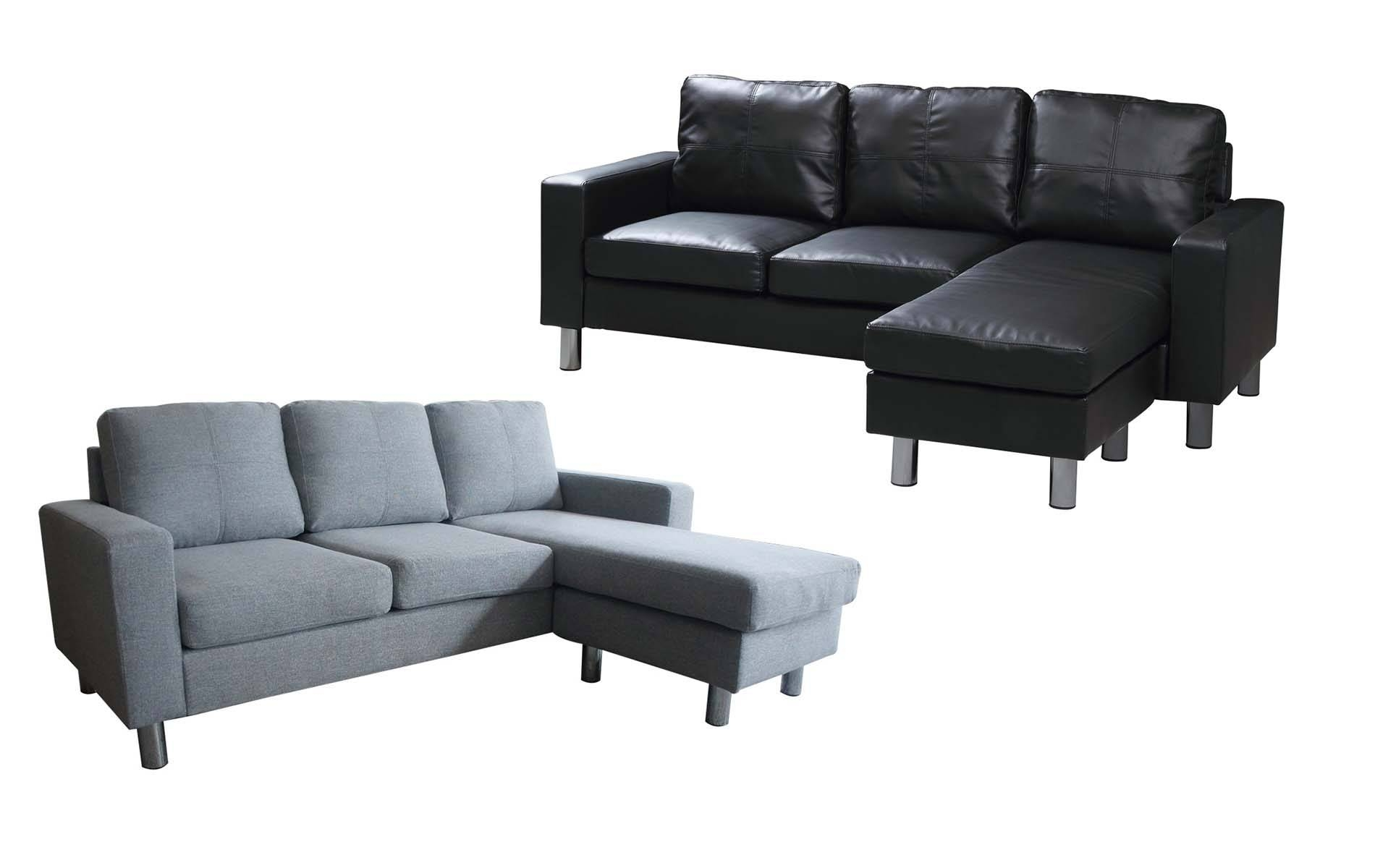 3 Seater L Shaped Corner Sectional Sofa Couch Grey Fabric Black within L Shaped Fabric Sofas (Image 2 of 30)