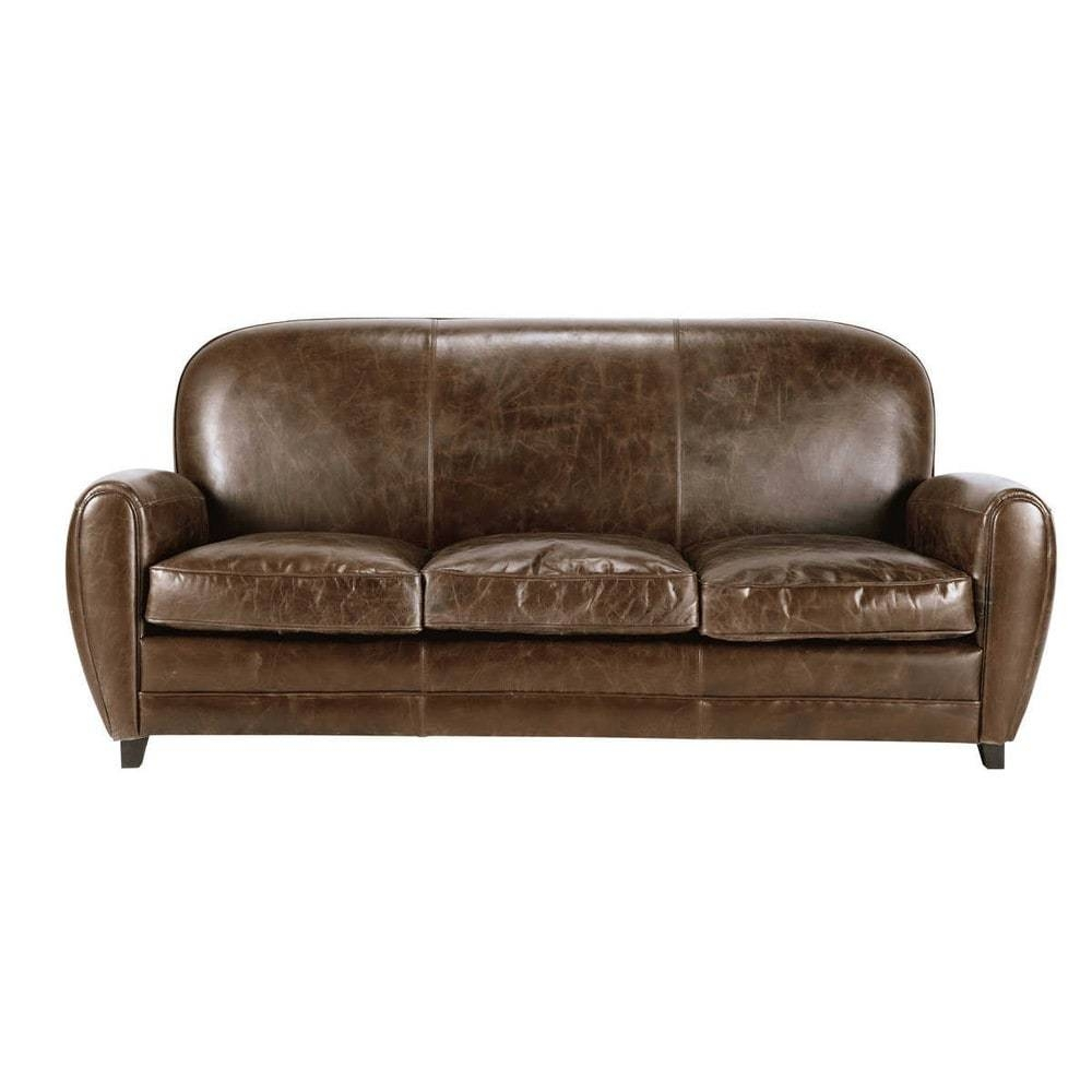 3 Seater Leather Vintage Sofa In Brown Oxford | Maisons Du Monde with Oxford Sofas (Image 3 of 30)