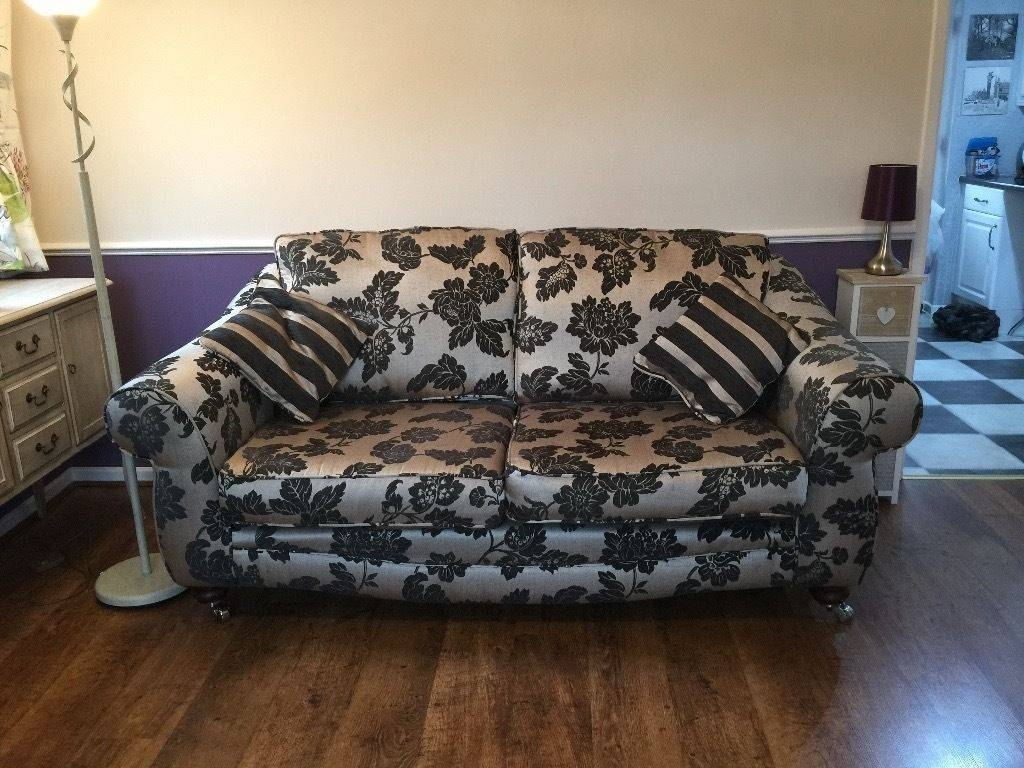 3 Seater Sofa & Cuddle Chair & Storage Pouffe In Black & Gold Fire In 3 Seater Sofa And Cuddle Chairs (Photo 222 of 298)