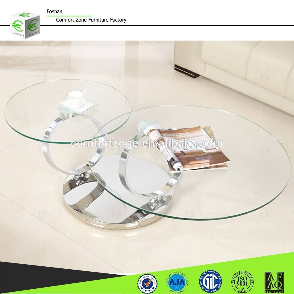 3 Tier Glass Coffee Table Suppliers And Berline Clear Round pertaining to Revolving Glass Coffee Tables (Image 2 of 30)