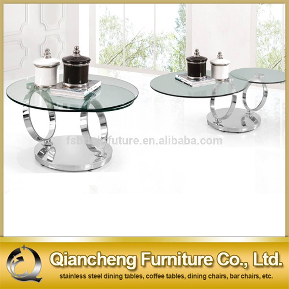 3 Tier Glass Coffee Table Suppliers And Berline Clear Round with regard to Revolving Glass Coffee Tables (Image 3 of 30)