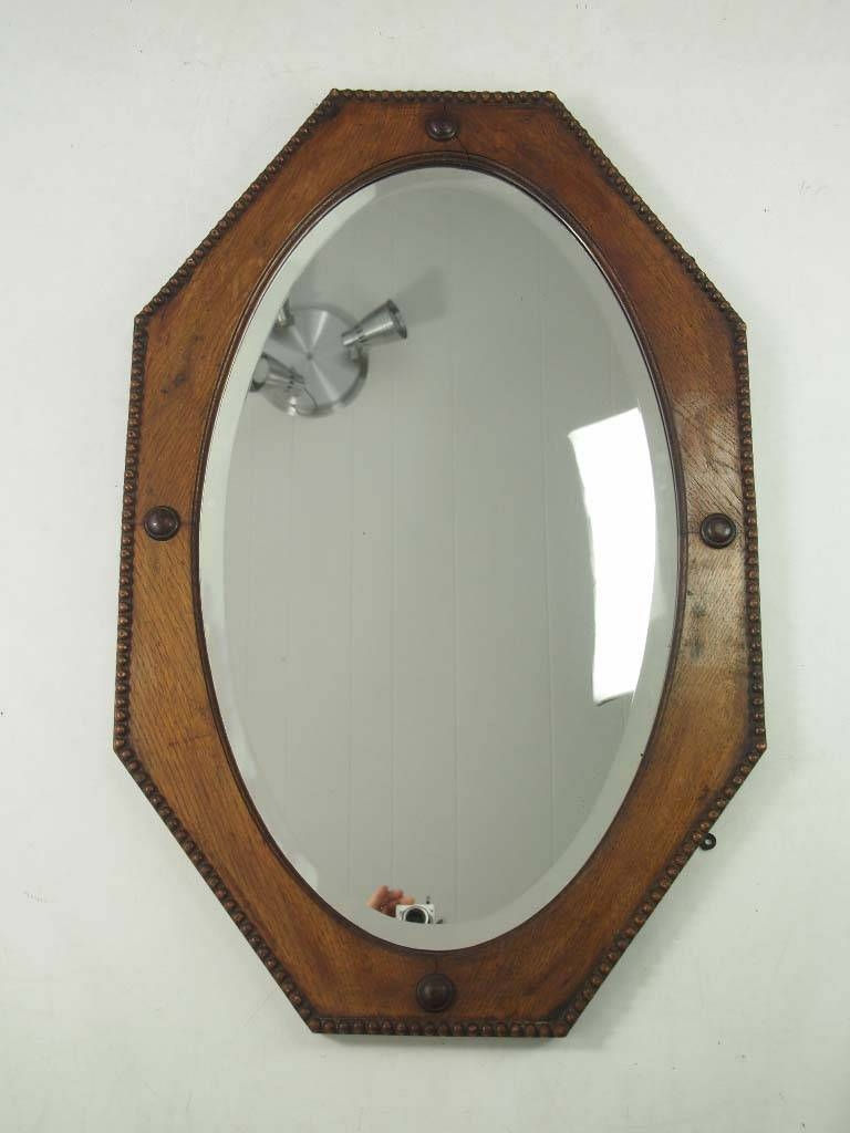 3 Vintage Oak & Mahogany Framed Wall Mirrors - - regarding Vintage Mirrors (Image 6 of 25)