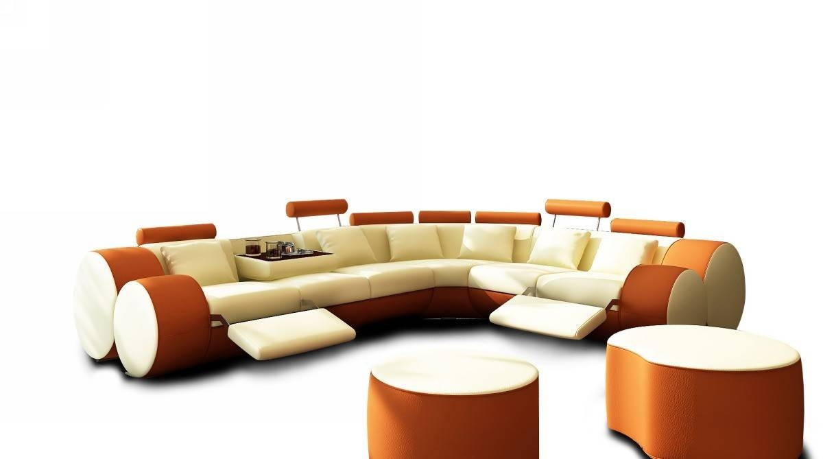 3087 Modern Beige And Orange Leather Sectional Sofa And Coffee Table Within Orange Sectional Sofa (View 1 of 30)