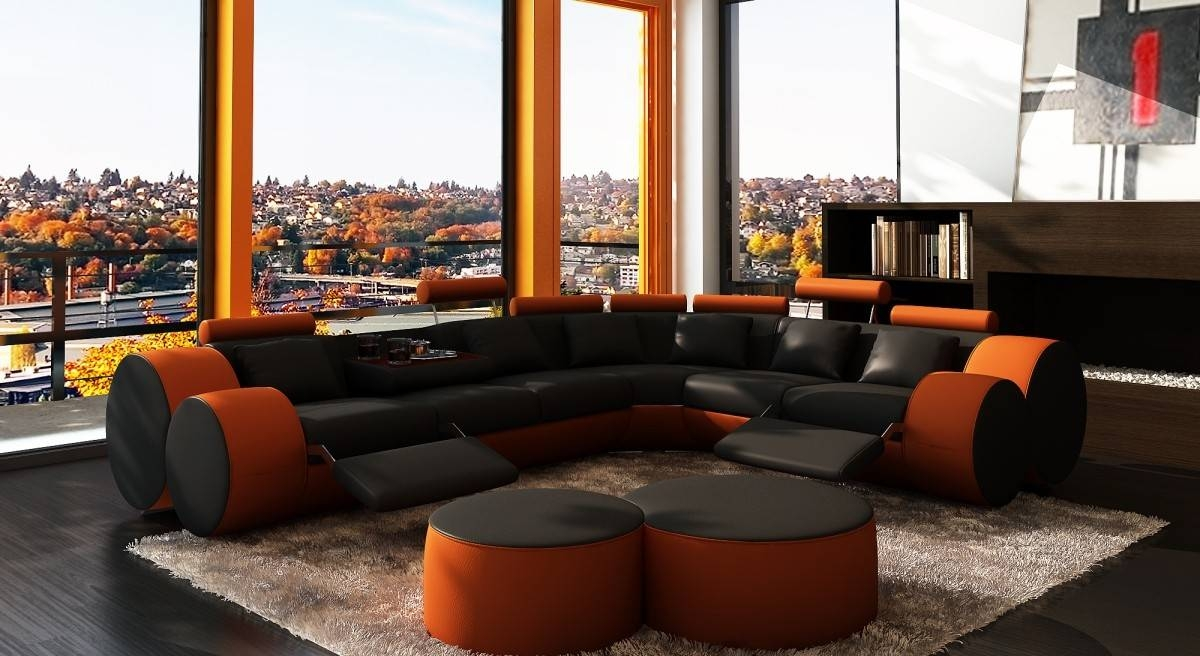 3087 Modern Black And Orange Leather Sectional Sofa And Coffee Table Inside Orange Sectional Sofa (View 2 of 30)
