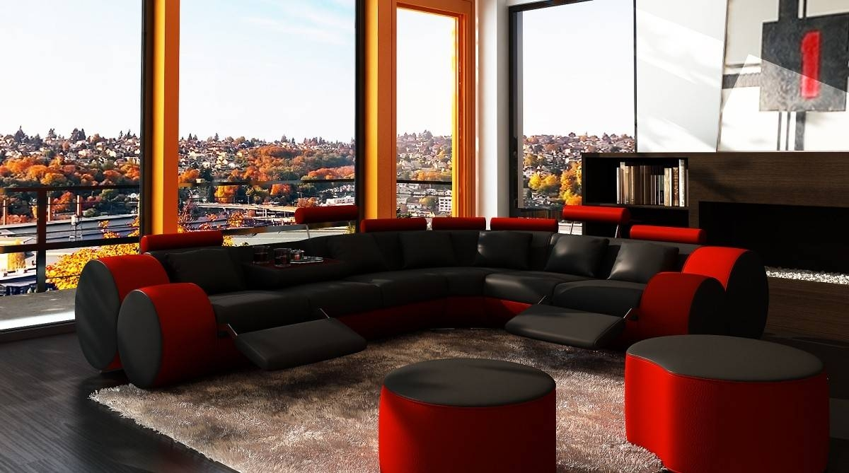 3087 Modern Black And Red Leather Sectional Sofa And Coffee Table With Red Black Sectional Sofa (Photo 5 of 30)