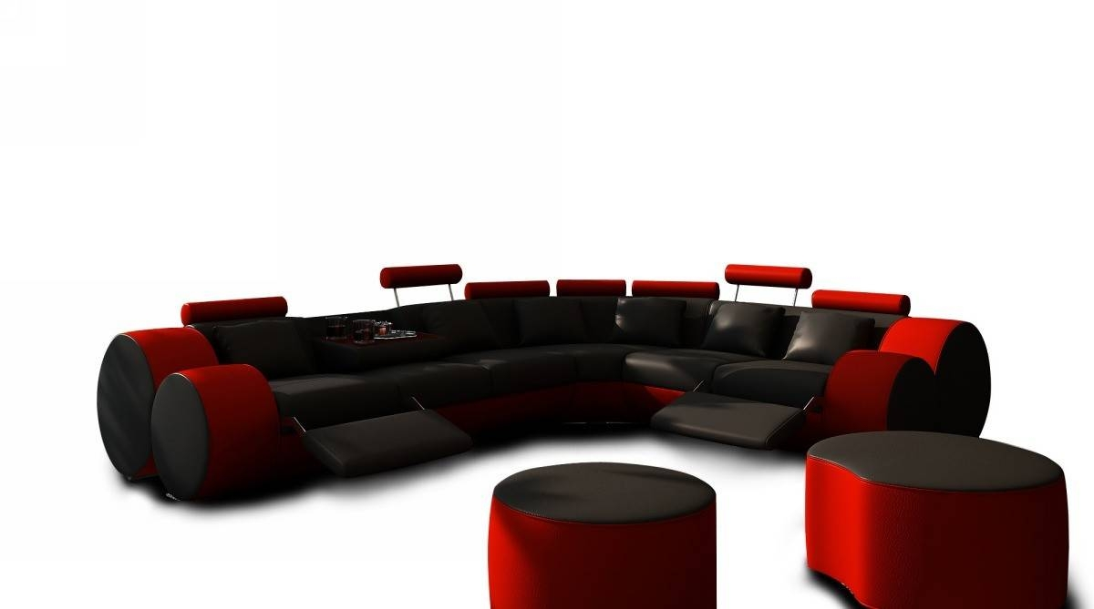 3087 Modern Black And Red Leather Sectional Sofa And Coffee Table Within Red Black Sectional Sofa (Photo 25 of 30)