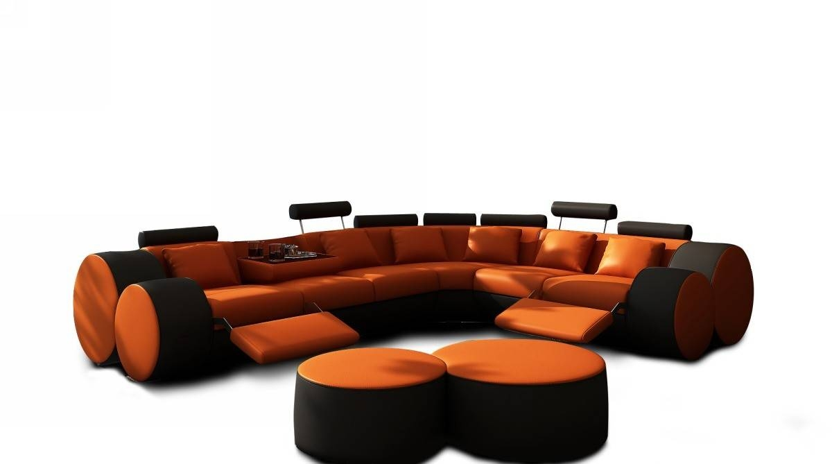 3087 Modern Orange And Black Leather Sectional Sofa And Coffee Table in Orange Sectional Sofa (Image 3 of 30)