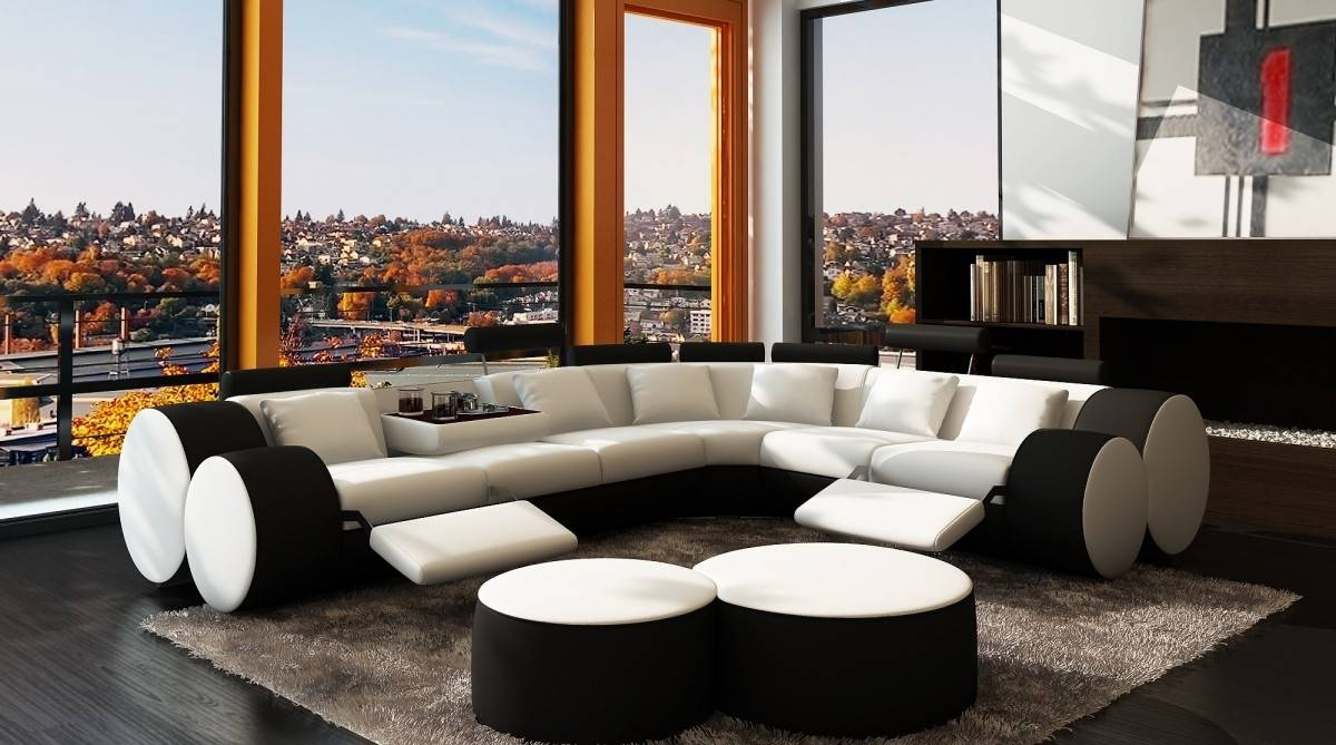 3087 Modern White And Black Leather Sectional Sofa And Coffee Table with regard to Coffee Table For Sectional Sofa (Image 1 of 30)