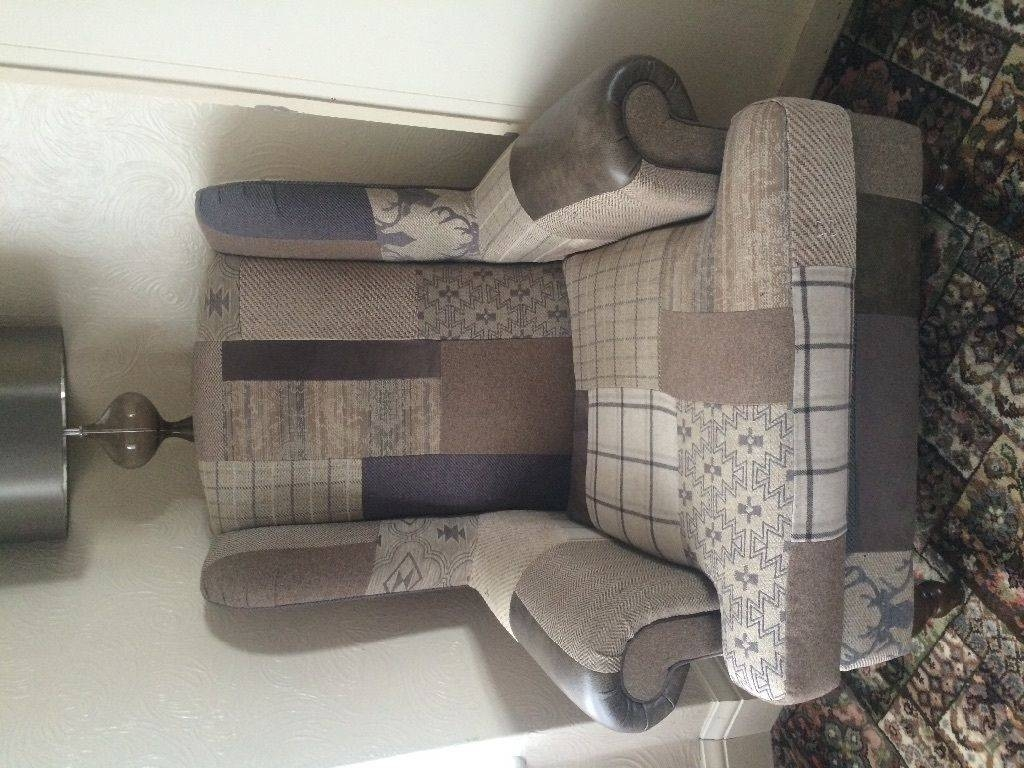 3/4 Seater Country Patchwork Sofa With 2 Wingback Arm Chairs | In intended for Country Sofas and Chairs (Image 2 of 15)