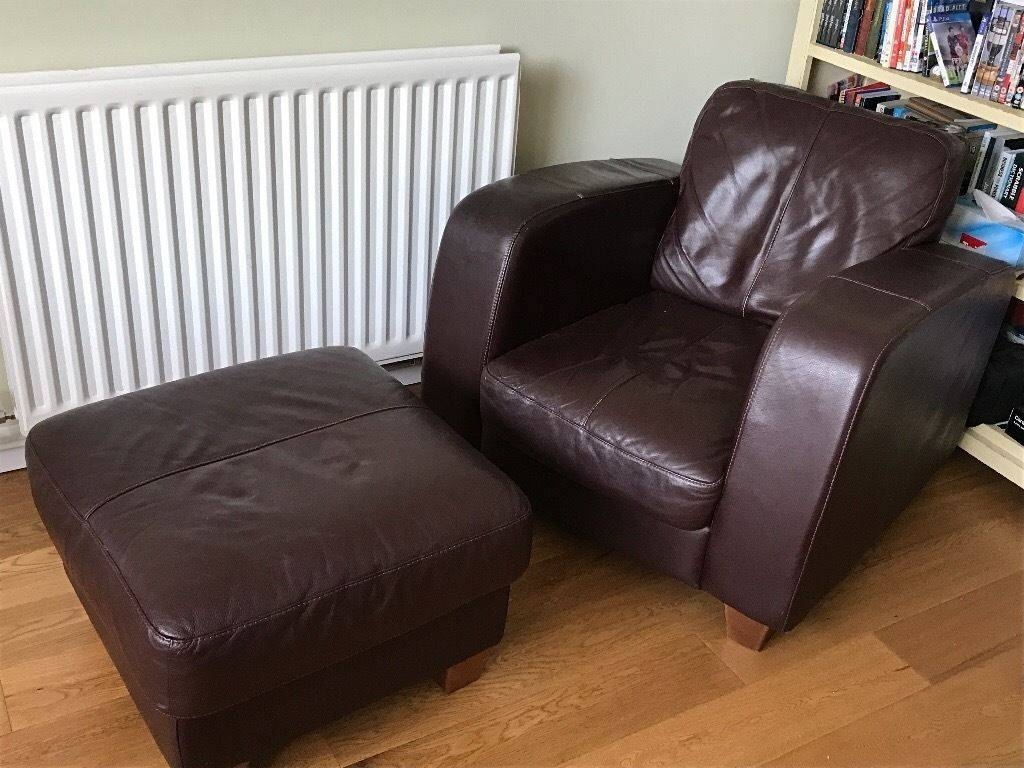 3/4 Seater Leather Sofa, Chair And Footstall | In Canterbury, Kent within Canterbury Leather Sofas (Image 2 of 30)