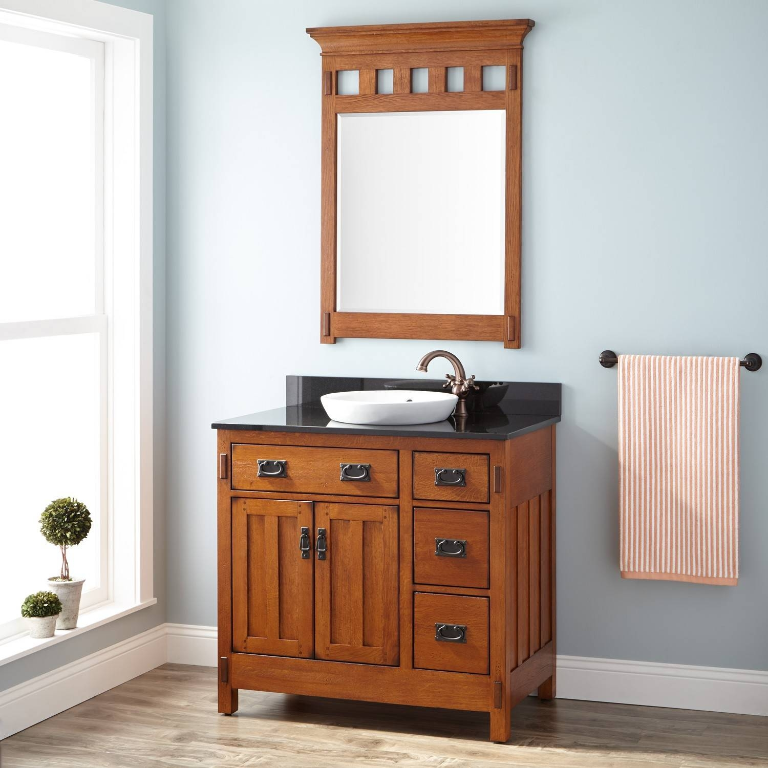 "36"" American Craftsman Vanity For Semi Recessed Sink   Rustic Oak Regarding Rustic Oak Mirrors (Photo 18 of 25)"