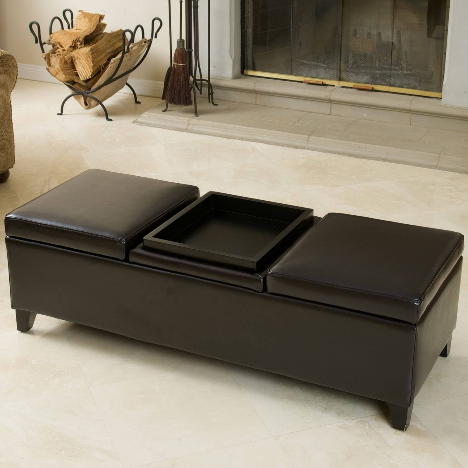 36 Top Brown Leather Ottoman Coffee Tables In Brown Leather Ottoman Coffee Tables (View 3 of 30)