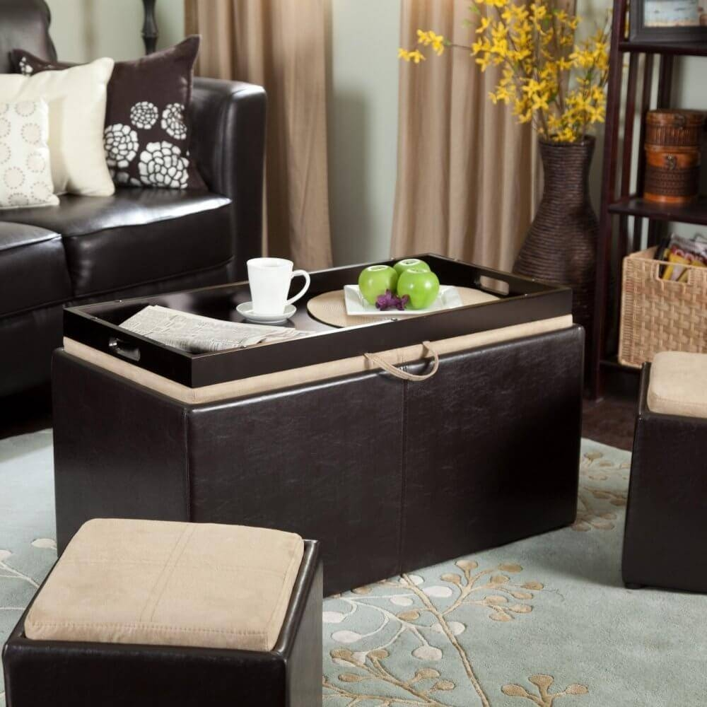 36 Top Brown Leather Ottoman Coffee Tables Pertaining To Brown Leather Ottoman Coffee Tables With Storages (Photo 10 of 30)