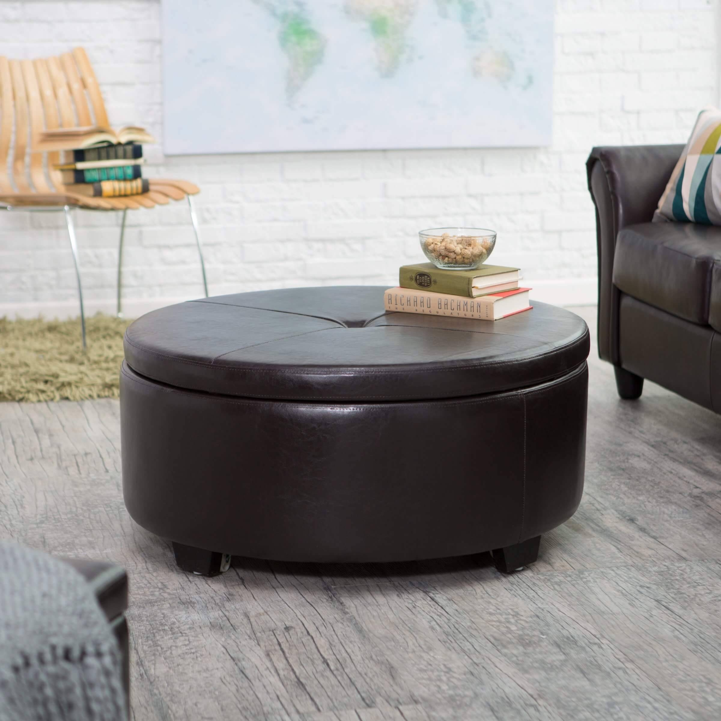36 Top Brown Leather Ottoman Coffee Tables Within Brown Leather Ottoman Coffee Tables With Storages (Photo 11 of 30)