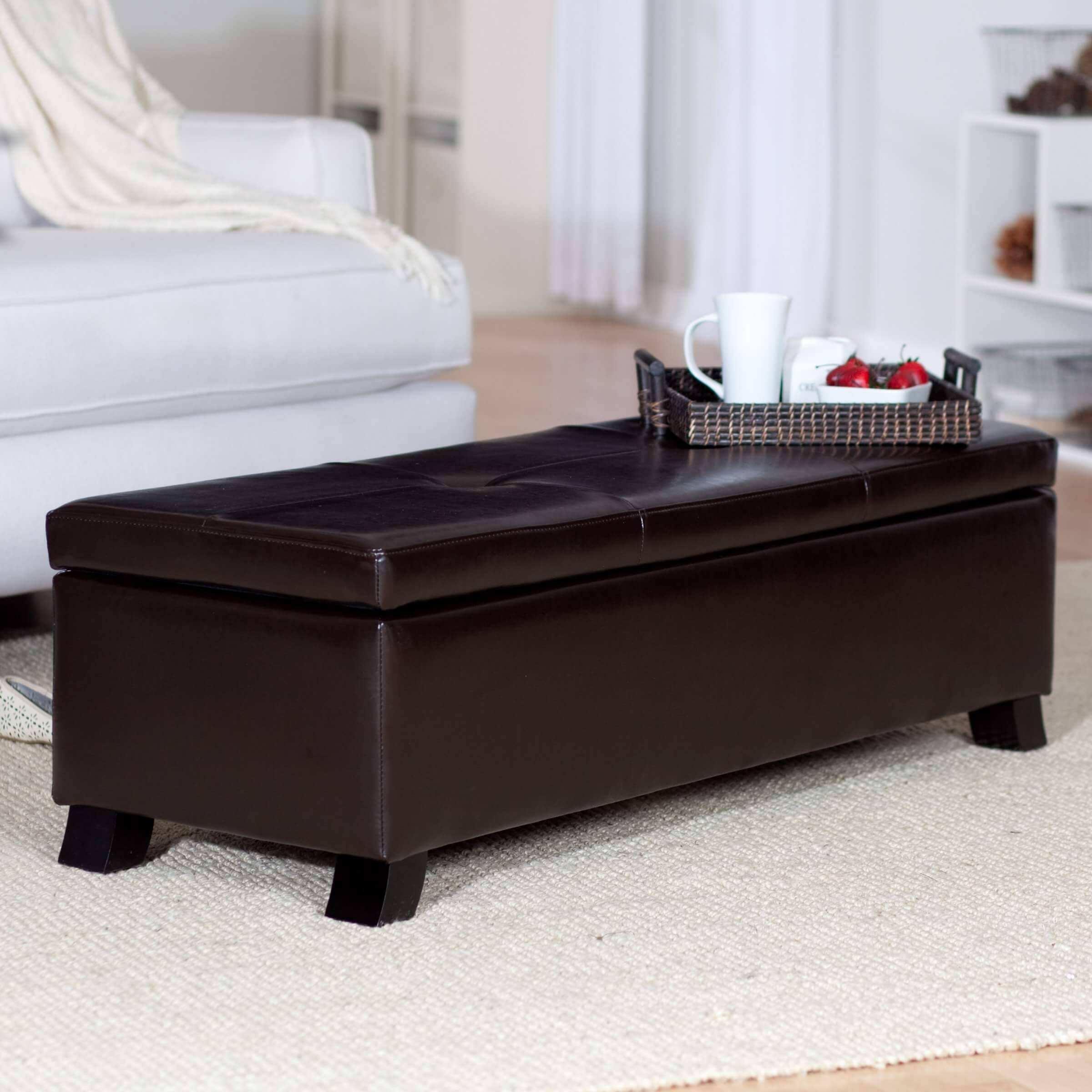 36 Top Brown Leather Ottoman Coffee Tables within Square Coffee Tables With Storage Cubes (Image 1 of 31)