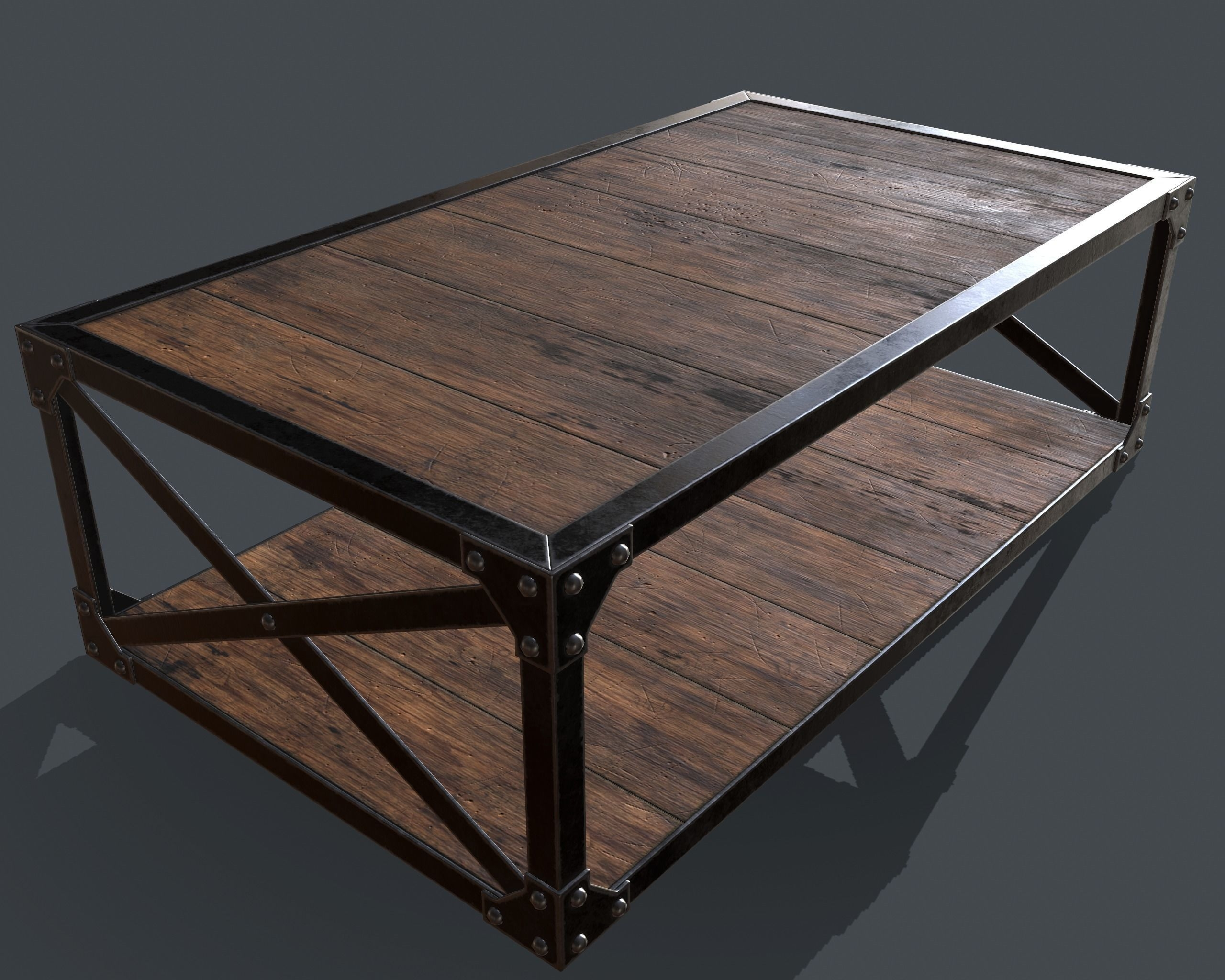 3D Model Industrial Style Coffee Table Vr / Ar / Low Poly Obj Fbx For Low Industrial Coffee Tables (Photo 25 of 30)