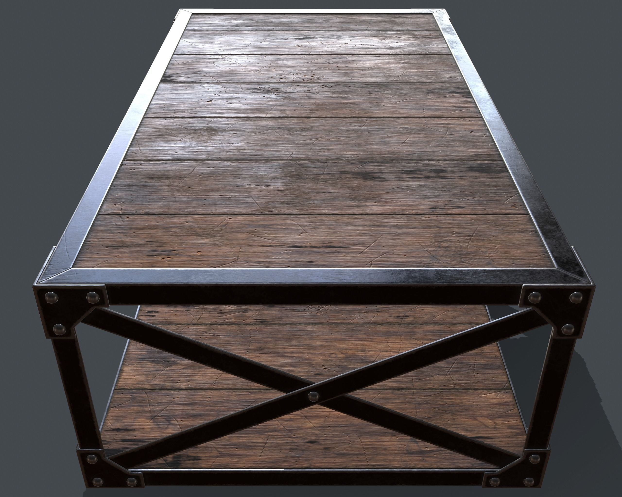 3D Model Industrial Style Coffee Table Vr / Ar / Low Poly Obj Fbx Regarding Low Industrial Coffee Tables (Photo 23 of 30)