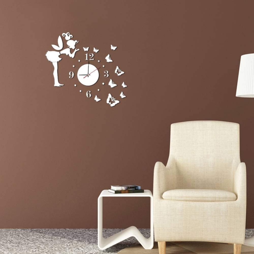 3D Wall Clock Wall Mirror Sticker Clock Watch Mirror Stickers Home in Butterfly Wall Mirrors (Image 1 of 25)