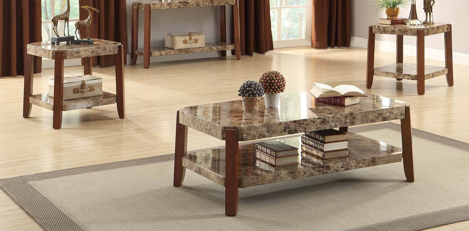 3Pc Coffee Table And End Tables Set With Marble Top In Brown with regard to 2 Piece Coffee Table Sets (Image 1 of 30)