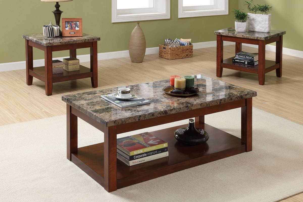 3Pc Coffee Table End Table Set Cherry Brown Finish | Coffee Tables in Cherry Wood Coffee Table Sets (Image 1 of 30)