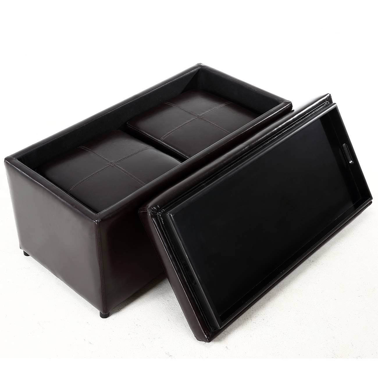 3Pc Ottoman Bench Storage Lid Tray Footrest Coffee Table Black for Coffee Table Footrests (Image 3 of 30)