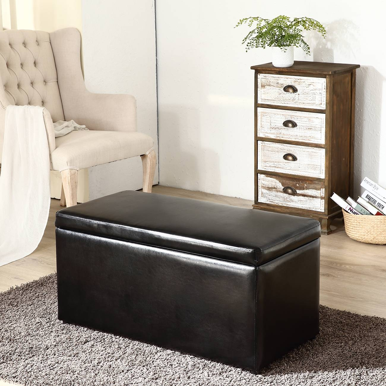 3Pc Ottoman Bench Storage Lid Tray Footrest Coffee Table Black for Coffee Table Footrests (Image 2 of 30)