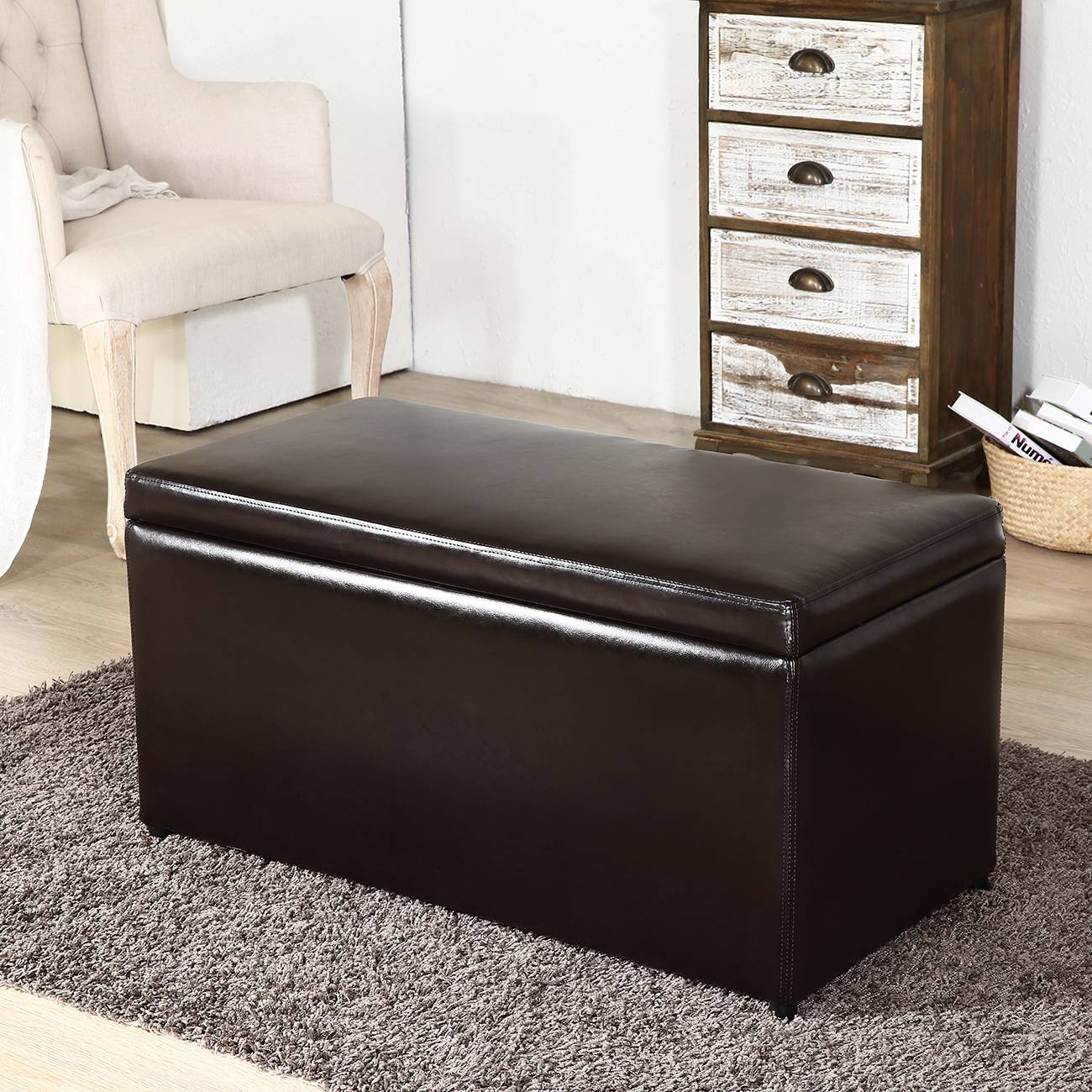 3Pc Ottoman Bench Storage Lid Tray Footrest Coffee Table Black in Coffee Table Footrests (Image 4 of 30)