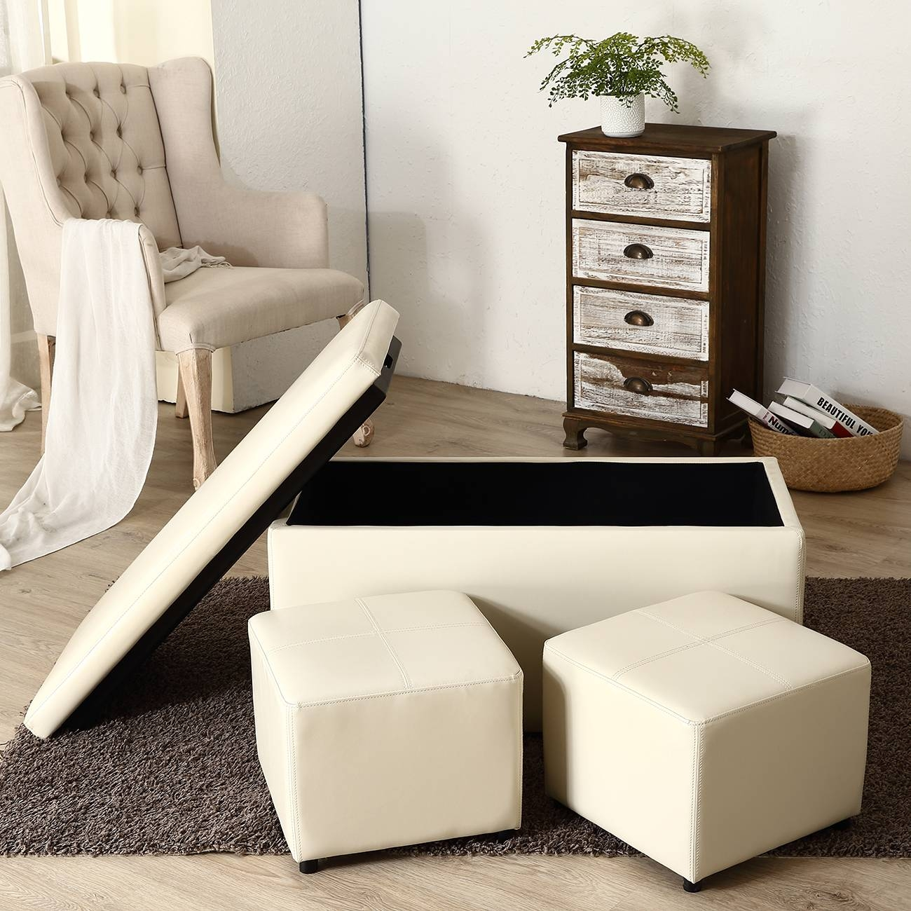 3Pc Ottoman Bench Storage Lid Tray Footrest Coffee Table Black regarding Coffee Table Footrests (Image 6 of 30)