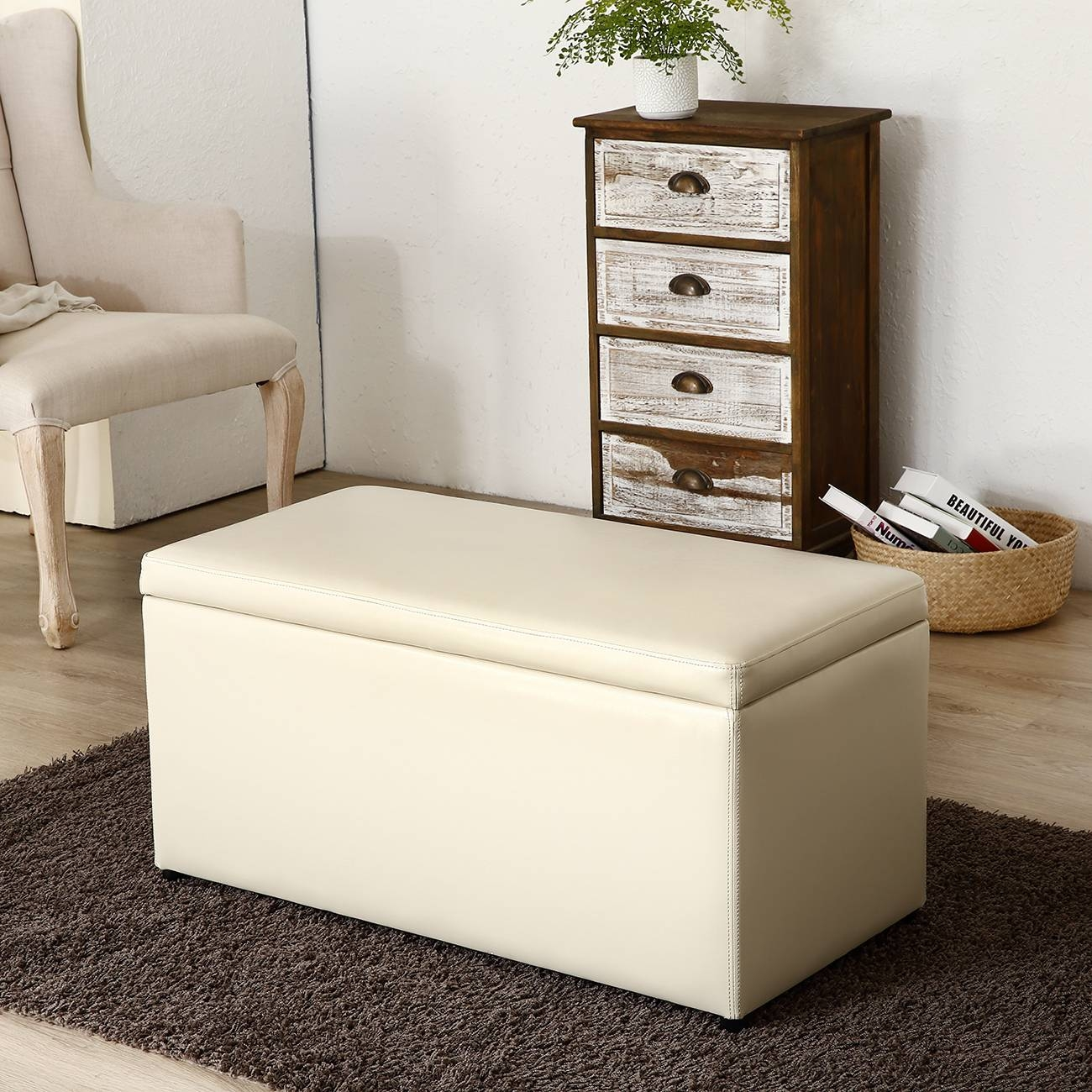 3Pc Ottoman Bench Storage Lid Tray Footrest Coffee Table Black regarding Coffee Table Footrests (Image 5 of 30)