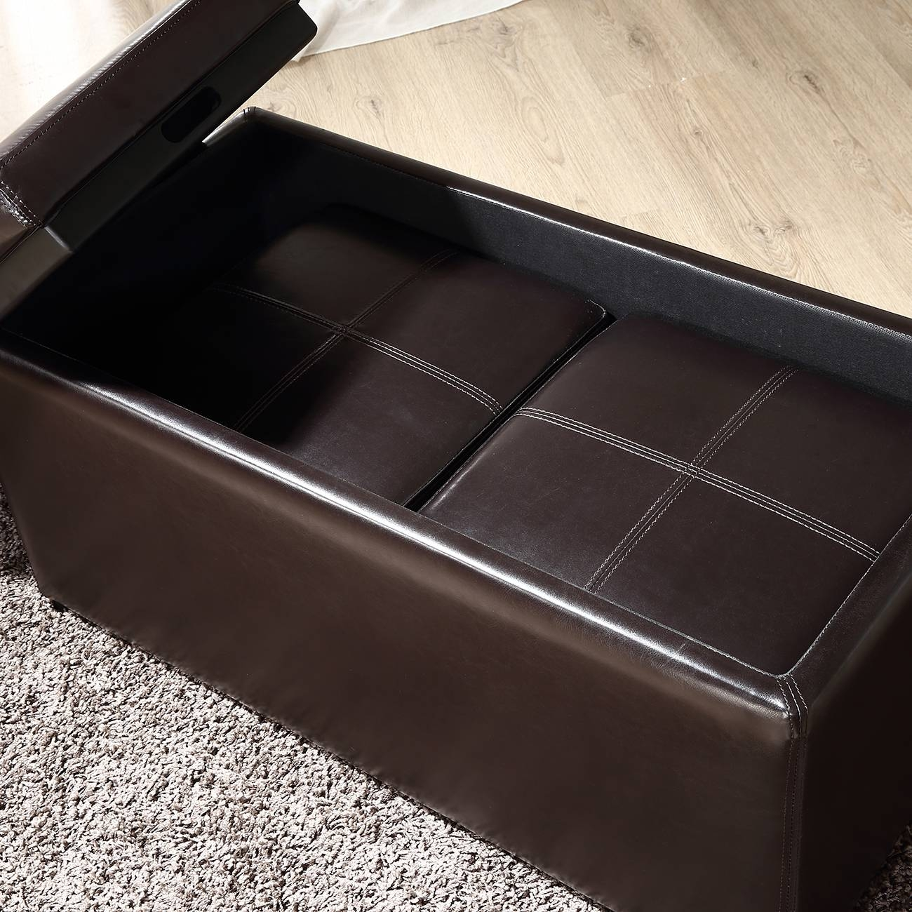 3Pc Ottoman Bench Storage Lid Tray Footrest Coffee Table Black throughout Coffee Table Footrests (Image 7 of 30)