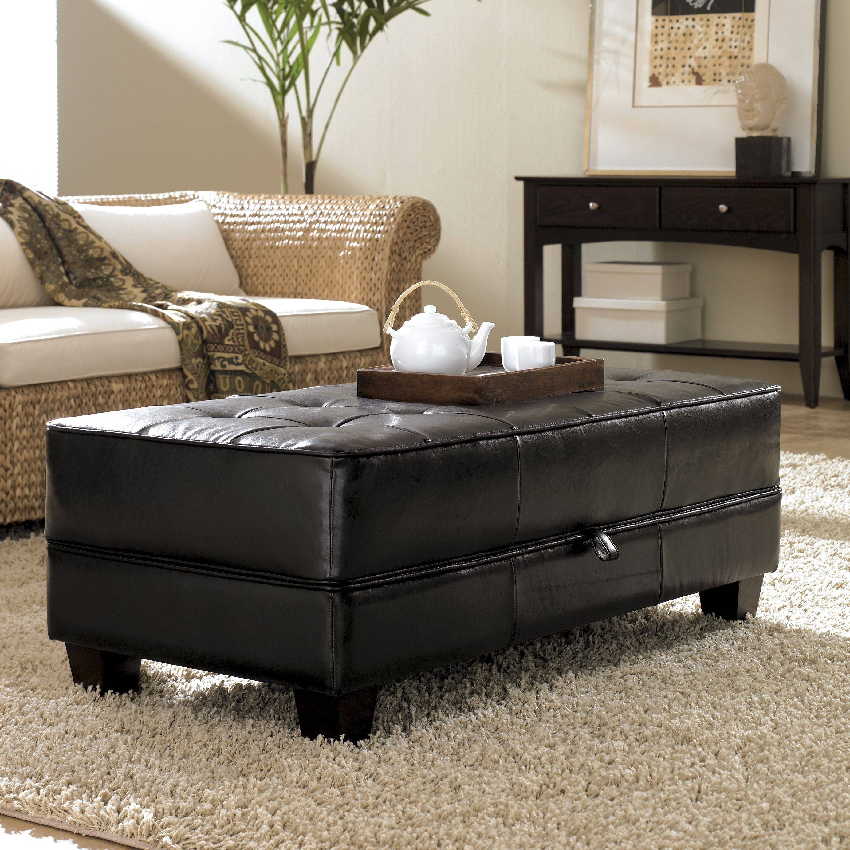 4 Tray Top Black Leather Storage Ottoman Coffee Table | Coffee within Brown Leather Ottoman Coffee Tables (Image 6 of 30)