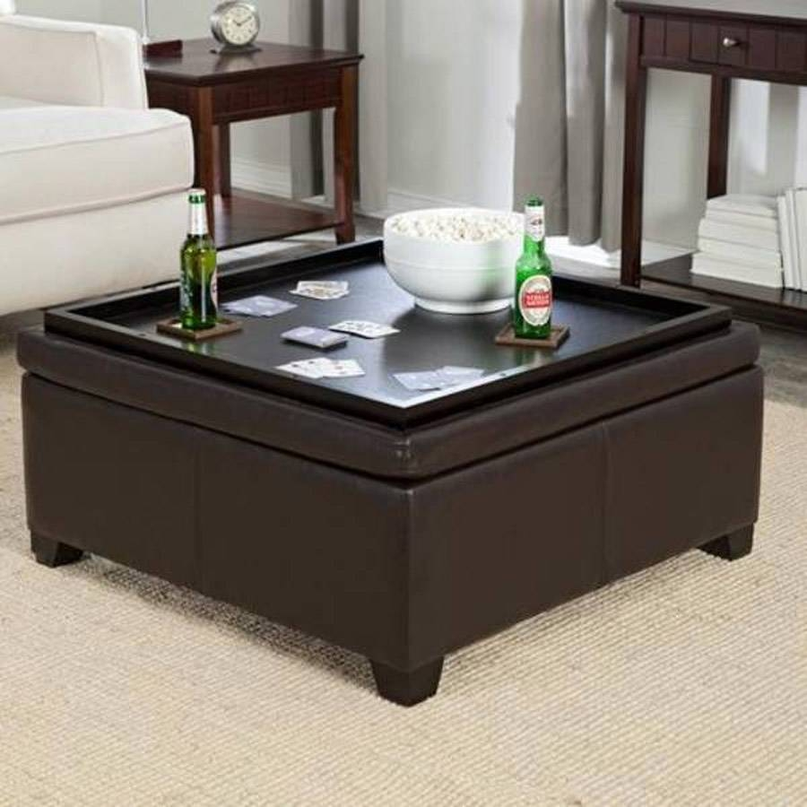 4 Tray Top Espresso Brown Leather Storage Ottoman Coffee Table pertaining to Round Coffee Table Trays (Image 1 of 30)