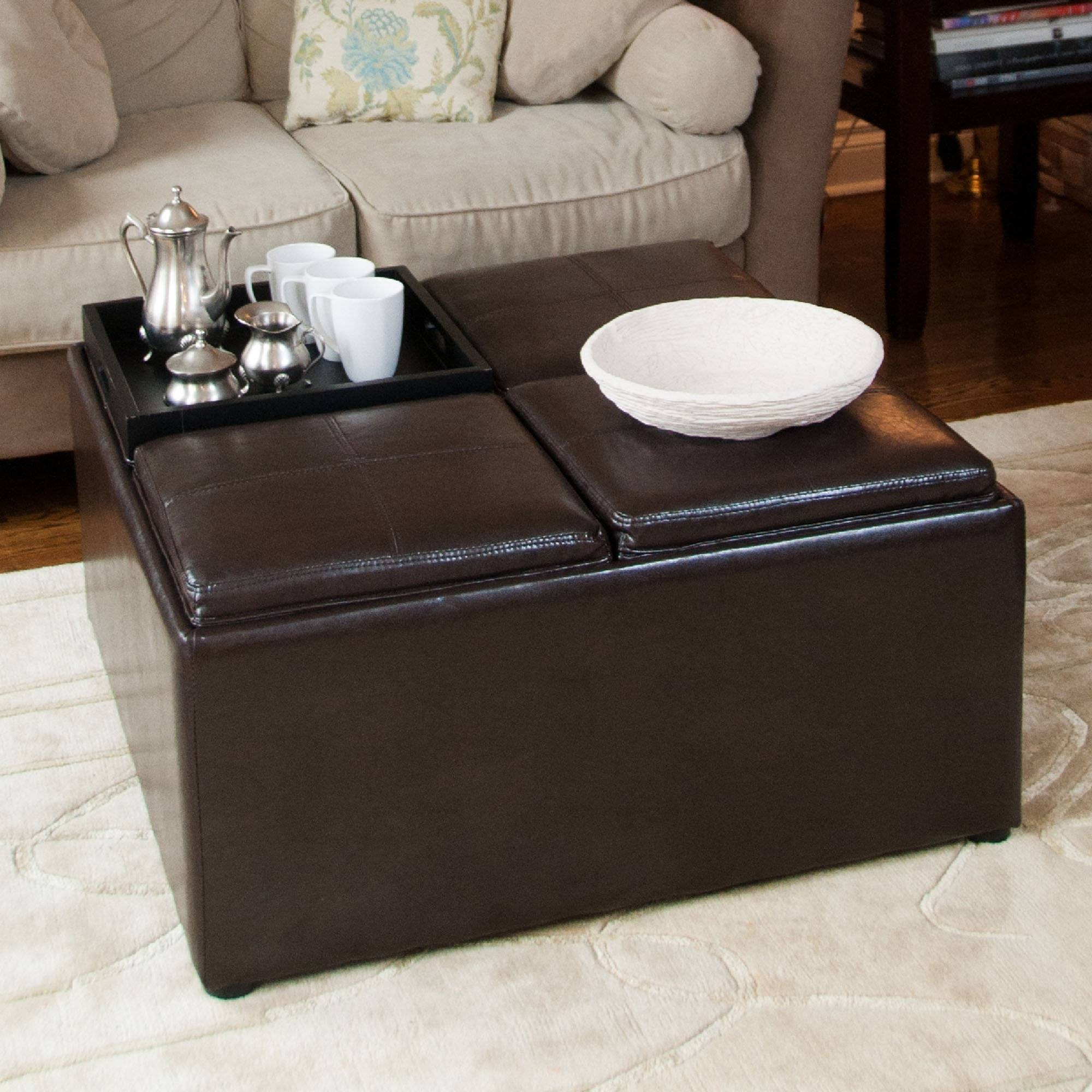4 Tray Top Espresso Brown Leather Storage Ottoman Coffee Table regarding Brown Leather Ottoman Coffee Tables (Image 7 of 30)