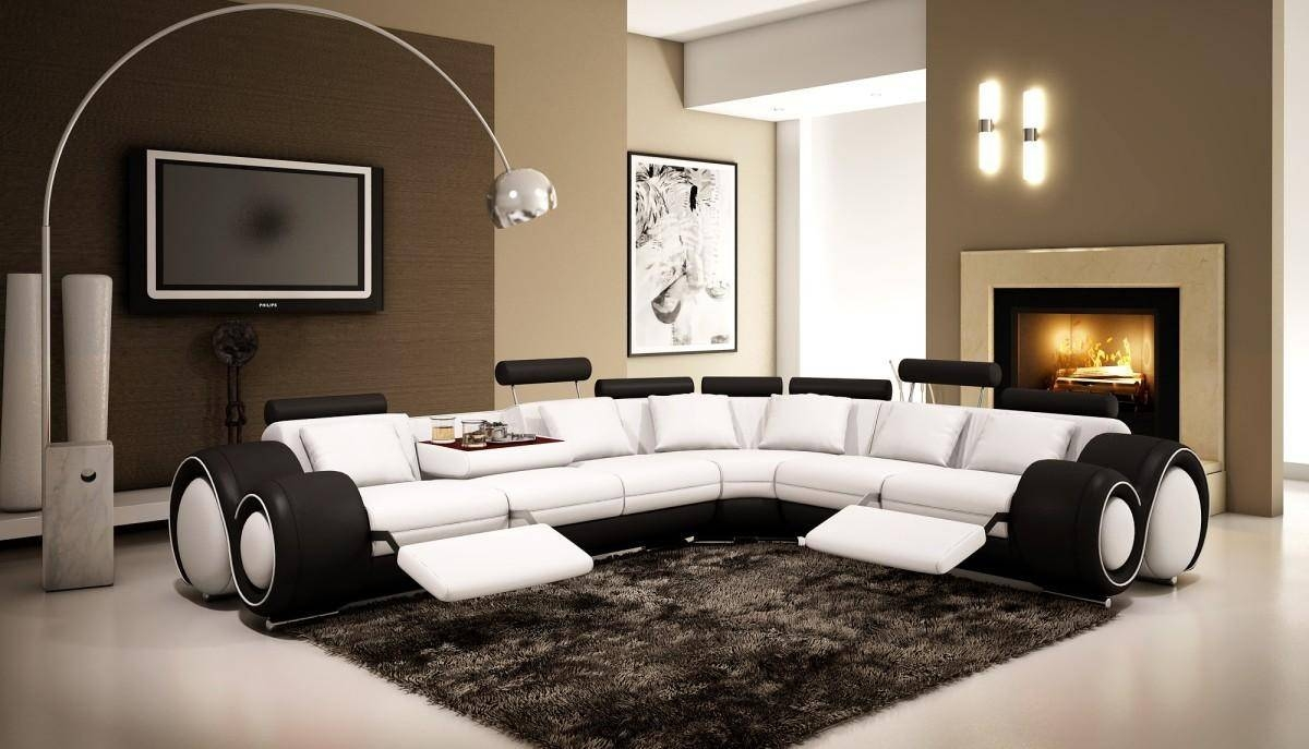 4087 – Black And White Half Leather Sectional Sofa With Recliners Inside Black And White Sectional Sofa (View 18 of 30)