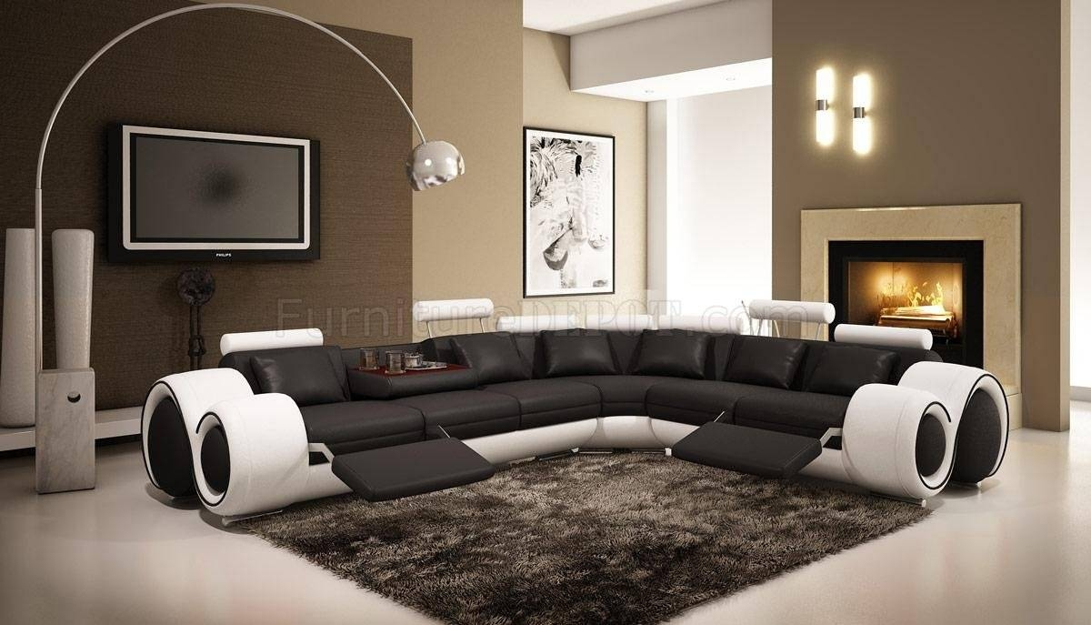 4087 Sectional Sofa Black & White Bonded Leathervig Intended For Black And White Sectional Sofa (View 20 of 30)
