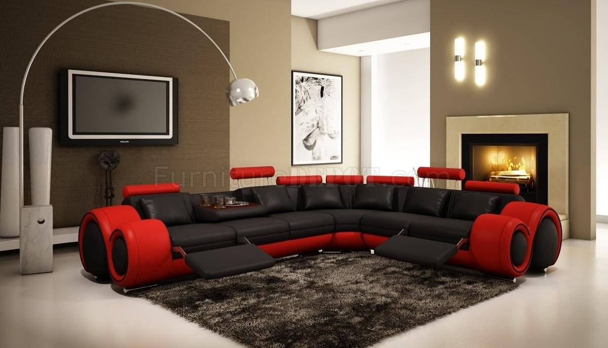 4087 Sectional Sofa In Black & Red Bonded Leathervig with Red Black Sectional Sofa (Image 5 of 30)