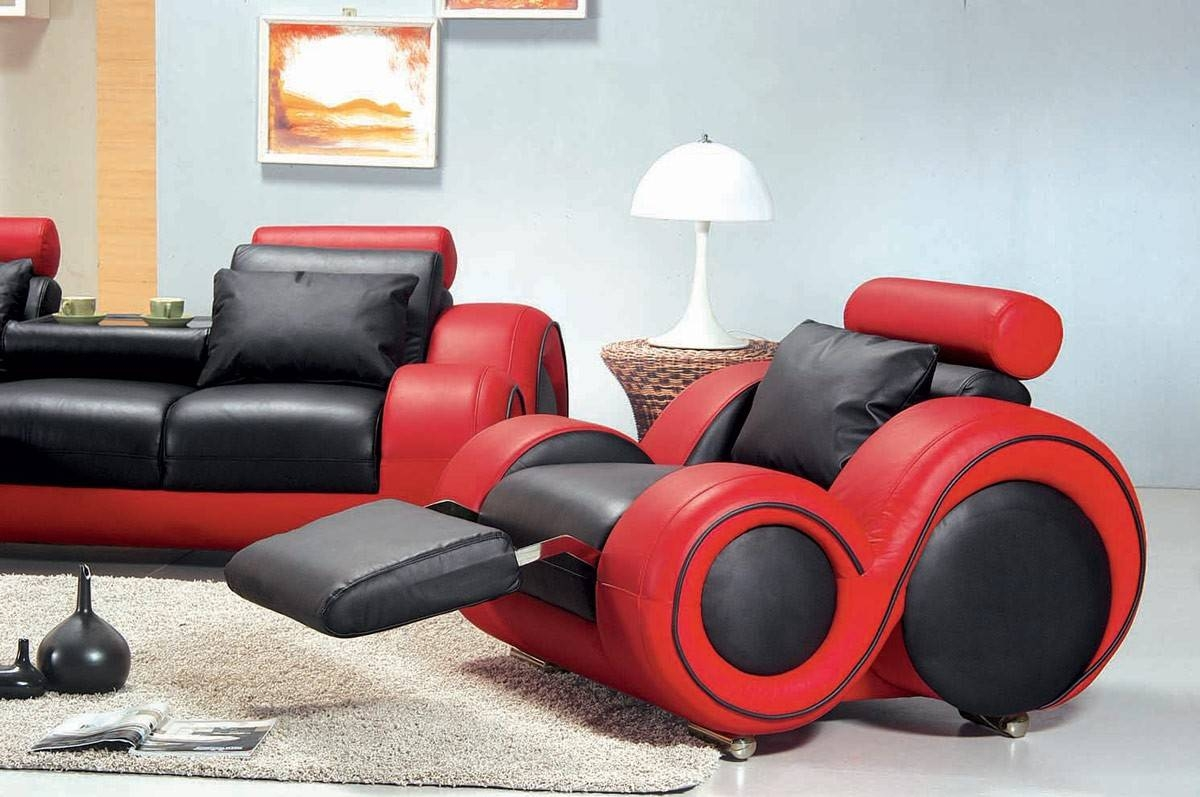 4088 - Contemporary Black And Red Sofa Set with Sofa Red And Black (Image 4 of 25)