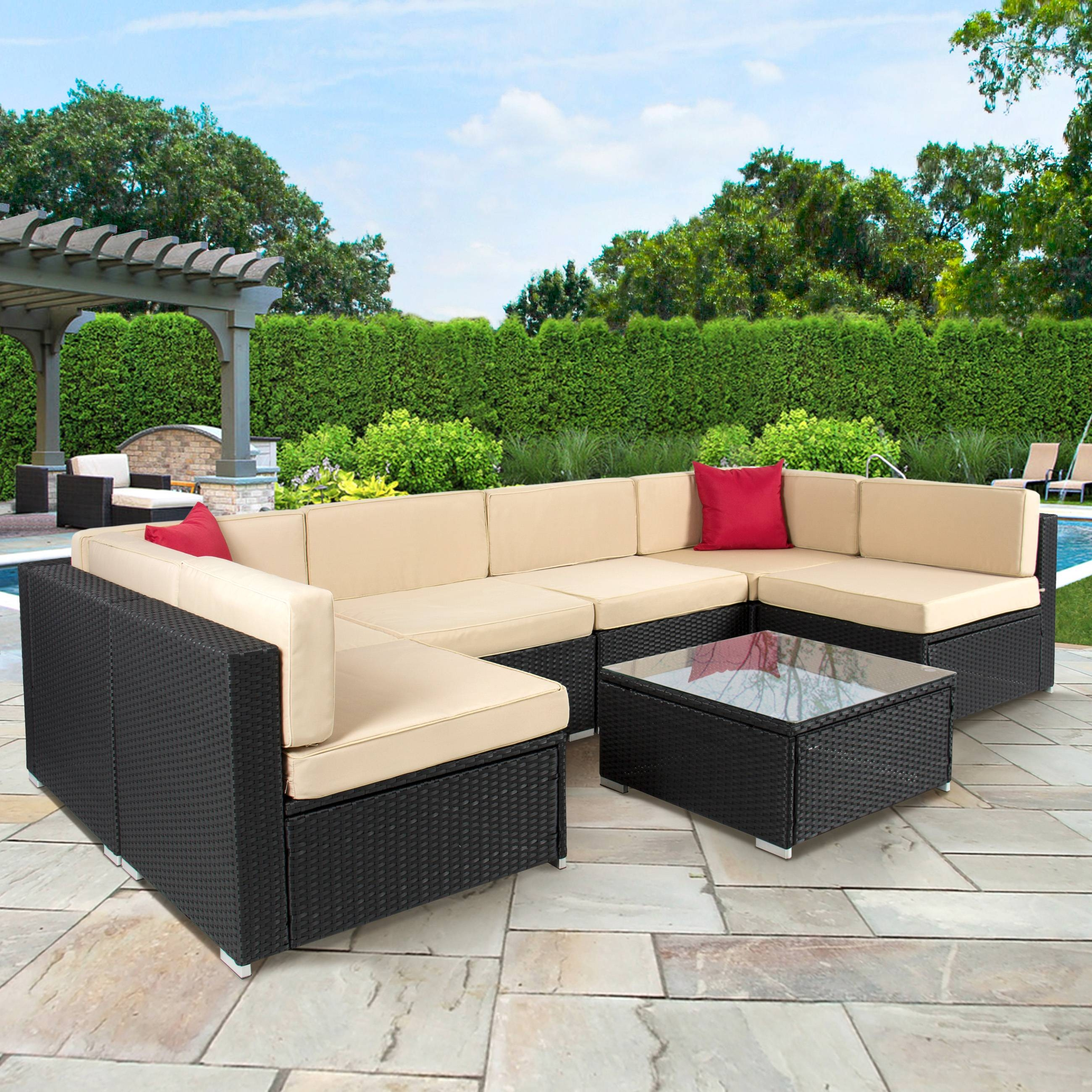 4Pc Outdoor Patio Garden Furniture Wicker Rattan Sofa Set Black within Outdoor Sofa Chairs (Image 1 of 30)