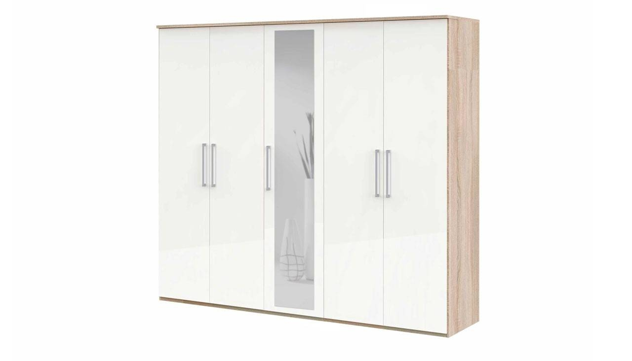 5 Door Wardrobe With Mirror From The Highlight Range | Ahf Furniture for 5 Door Mirrored Wardrobes (Image 1 of 15)