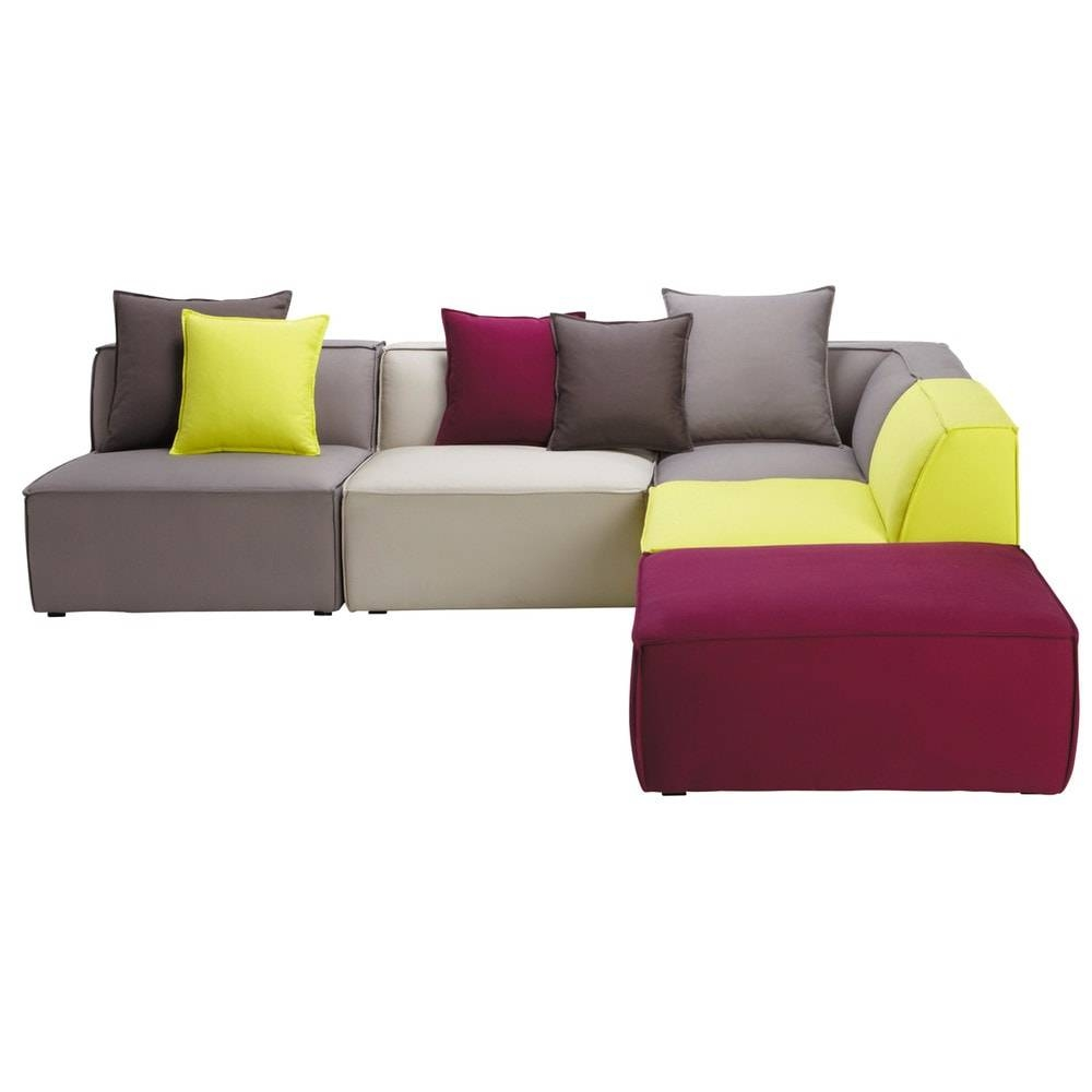 5 Seater Cotton Modular Corner Sofa, Multicoloured Floride intended for Modular Corner Sofas (Image 1 of 30)