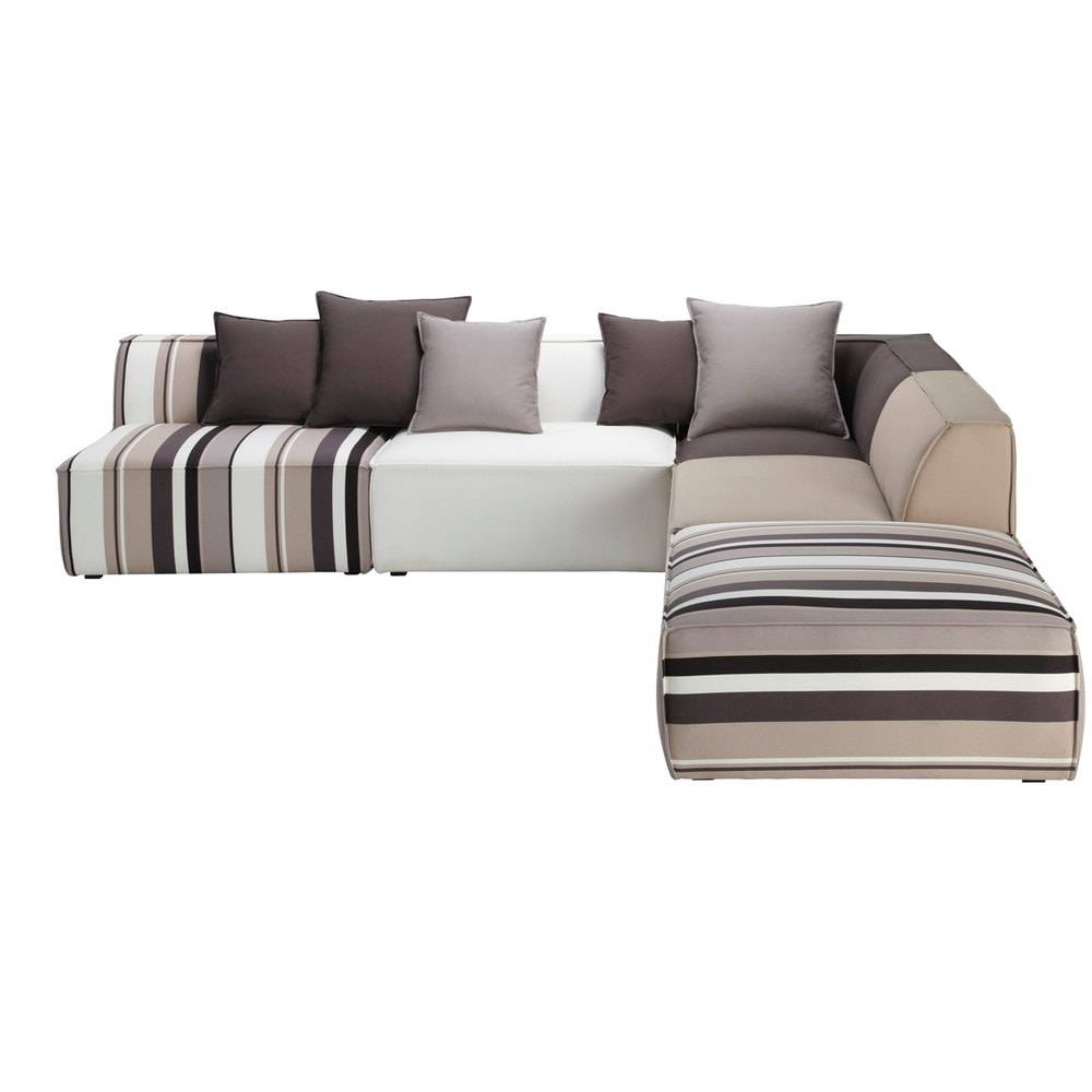 5 Seater Cotton Modular Corner Sofa, Striped Manhattan | Maisons throughout Modular Corner Sofas (Image 2 of 30)