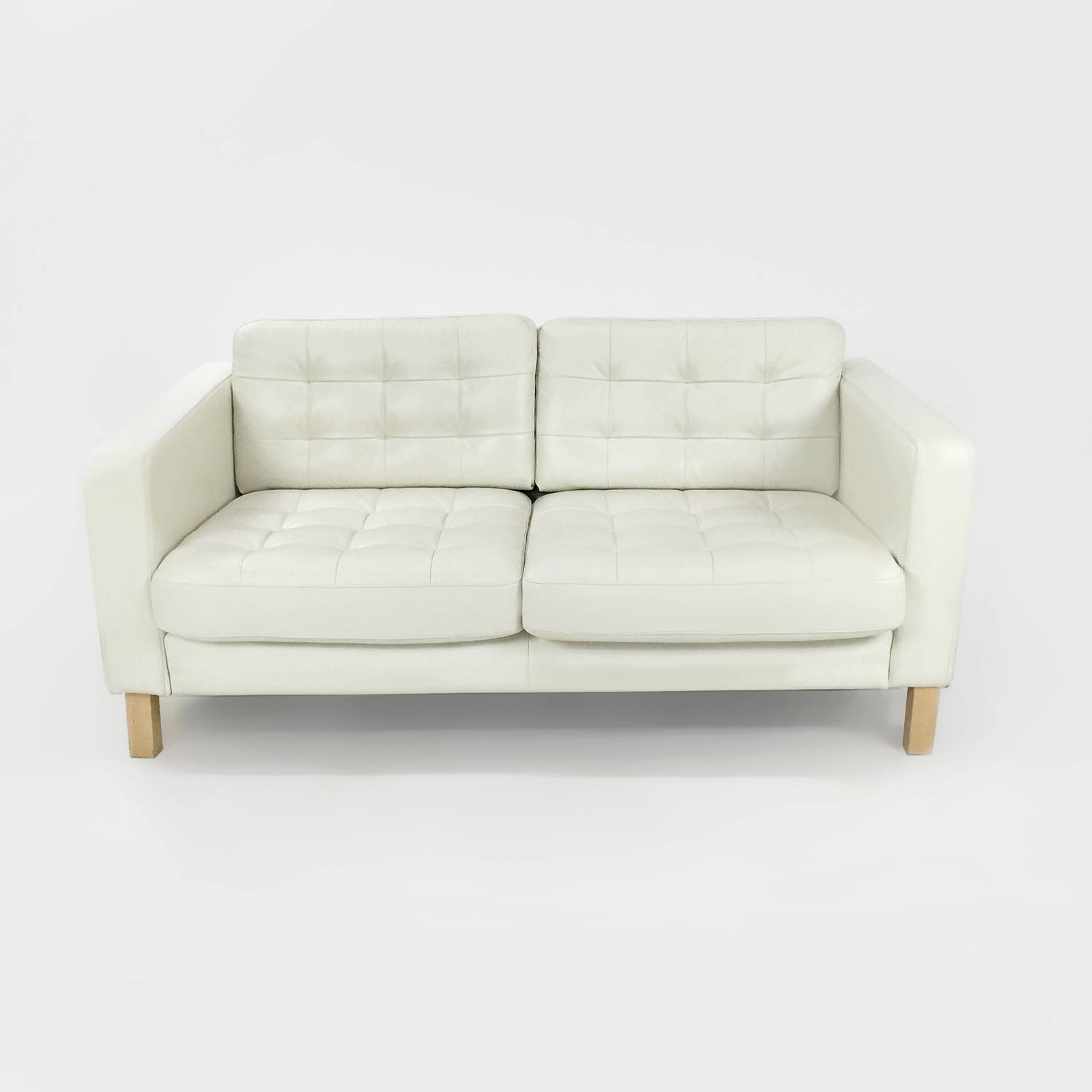 50% Off   Ikea White Leather Couch / Sofas Pertaining To Off White Leather Sofa And Loveseat (Photo 13 of 30)