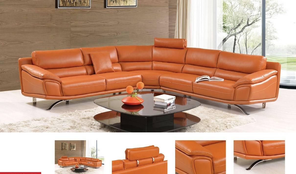 533 Leather Sectional Sofa In Orange | Free Shipping | Get Furniture With Regard To Orange Sectional Sofa (View 4 of 30)
