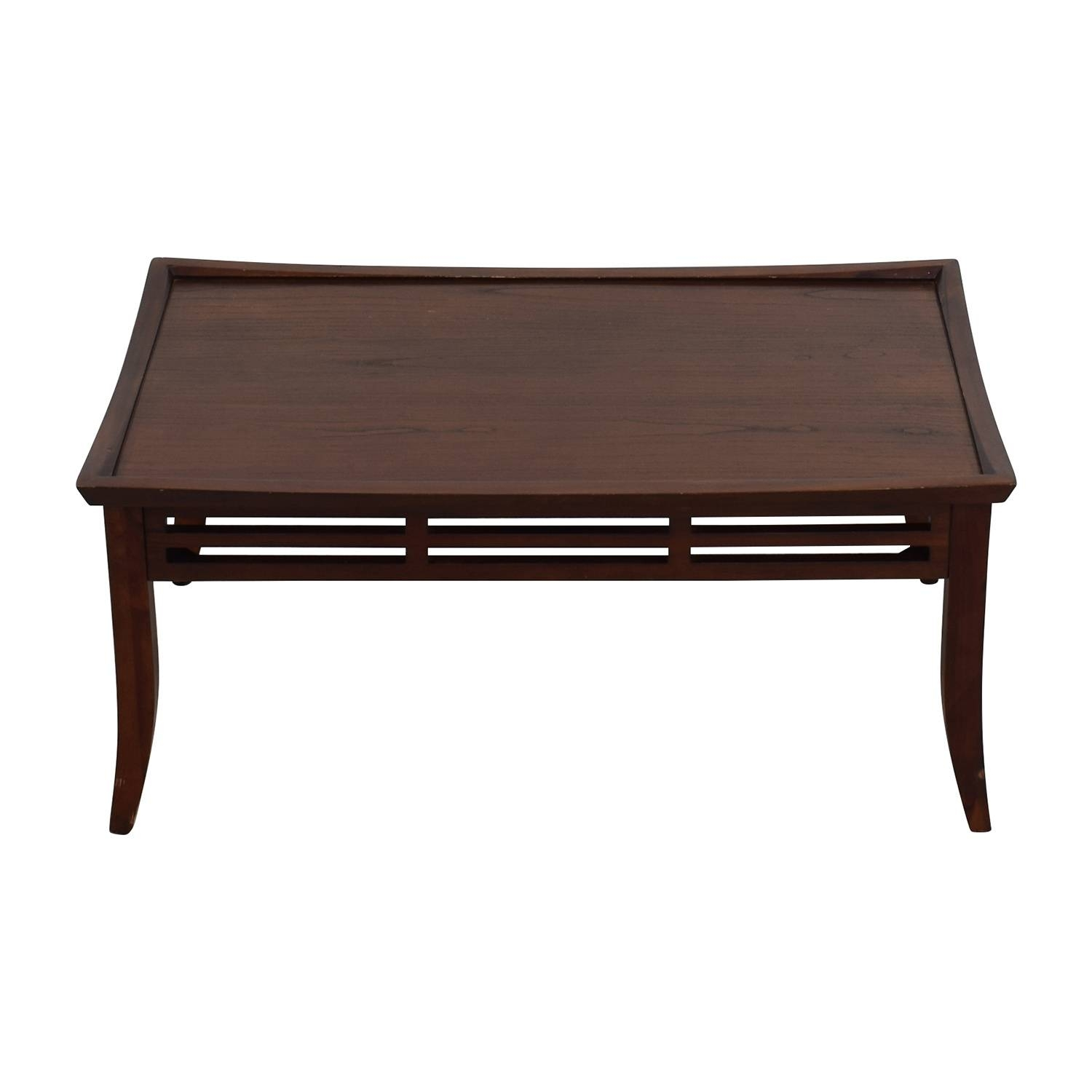 56% Off   Light Brown Coffee Table With Bottom Shelf / Tables Throughout Dark Brown Coffee Tables (Photo 16 of 30)