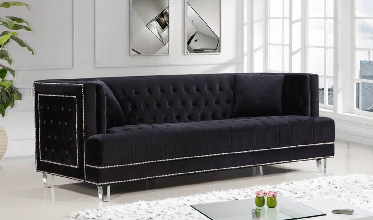 609 Lucas Living Room Set In Black Velvetmeridian Furniture With Black Velvet Sofas (Photo 23 of 30)
