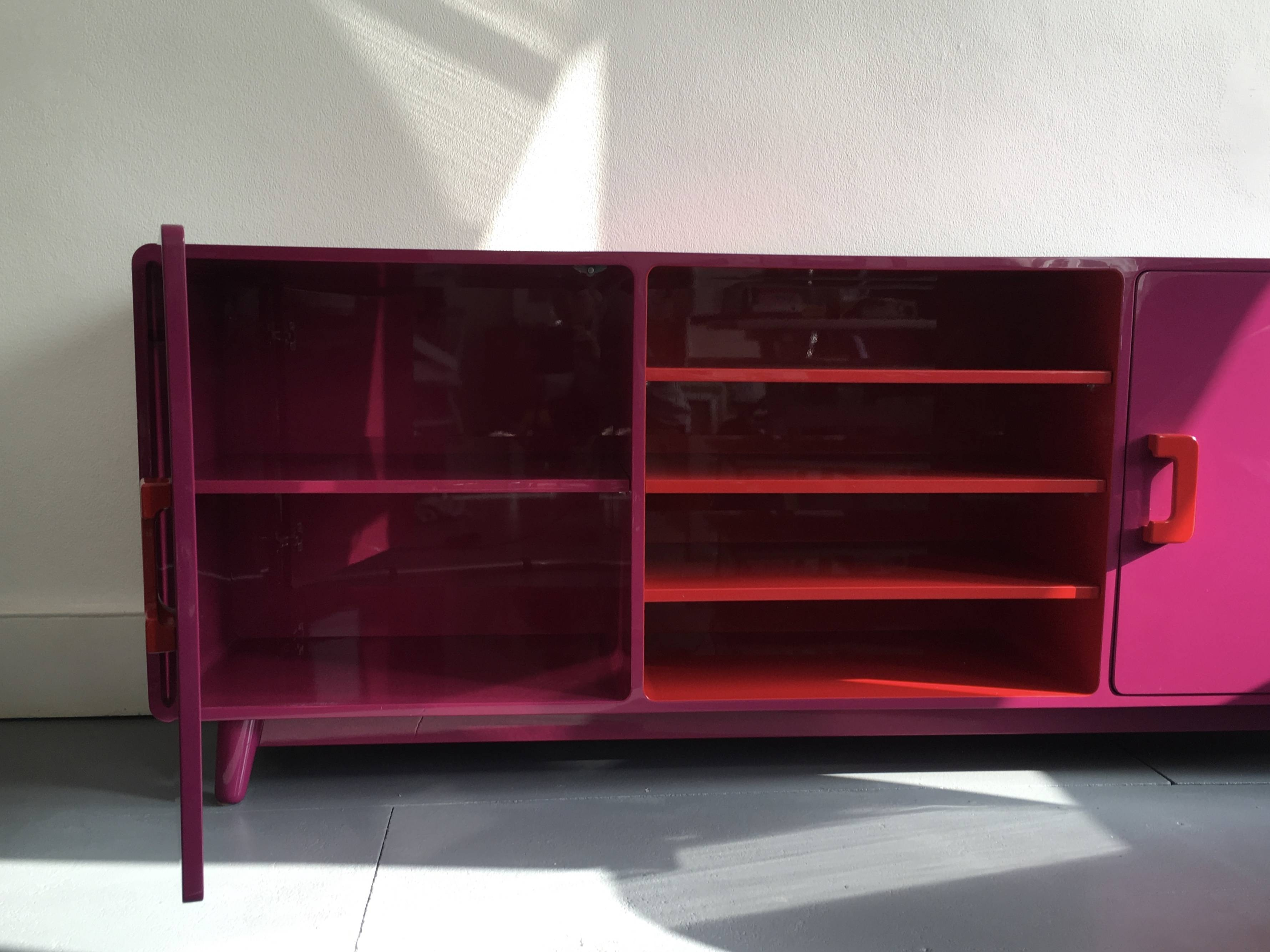 60's Inspired High Gloss Lacquered Sideboard In Hot Pink And Red in Red High Gloss Sideboards (Image 3 of 30)