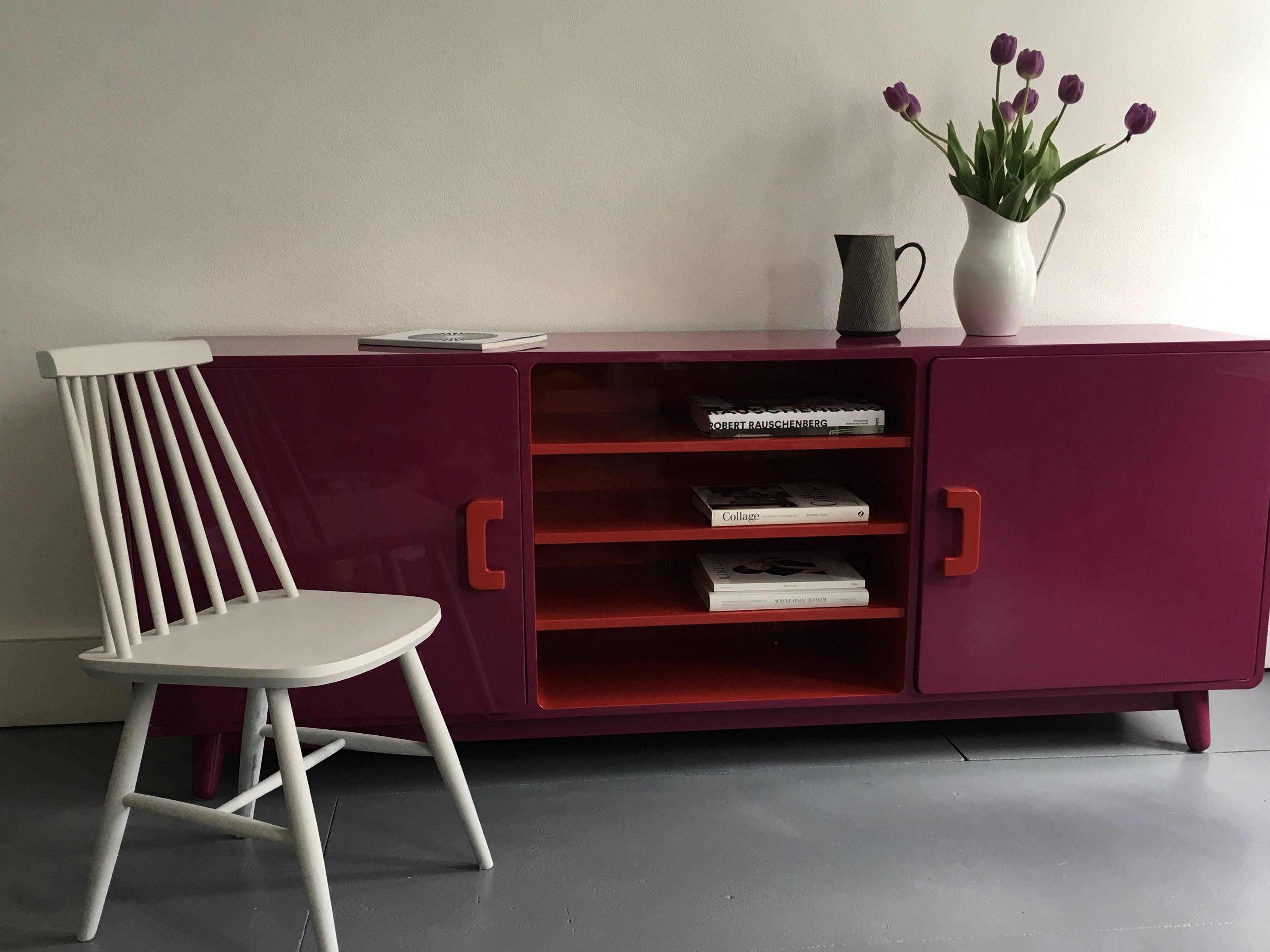 60's Inspired High Gloss Lacquered Sideboard In Hot Pink And Red intended for Red High Gloss Sideboards (Image 4 of 30)