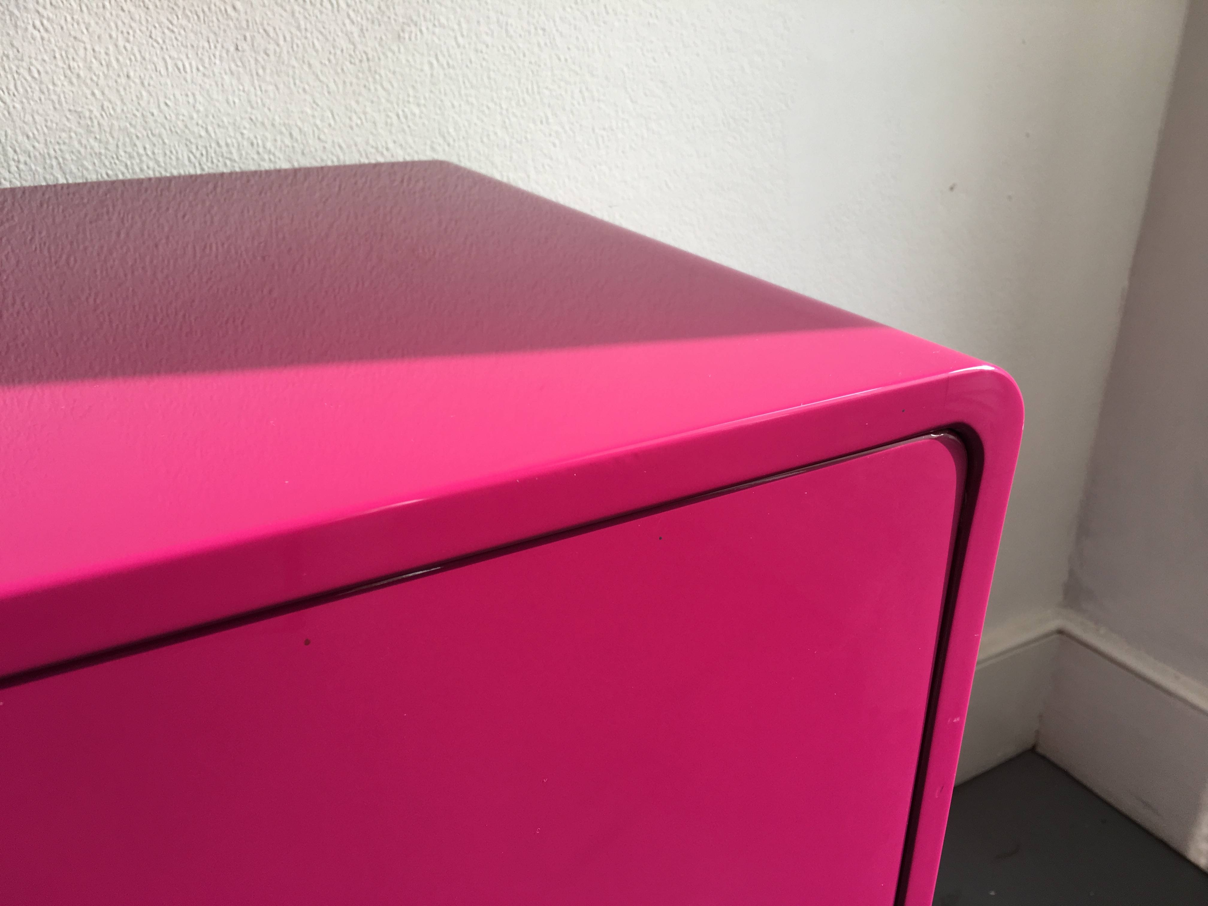 60's Inspired High Gloss Lacquered Sideboard In Hot Pink And Red Regarding Red High Gloss Sideboards (Photo 27 of 30)